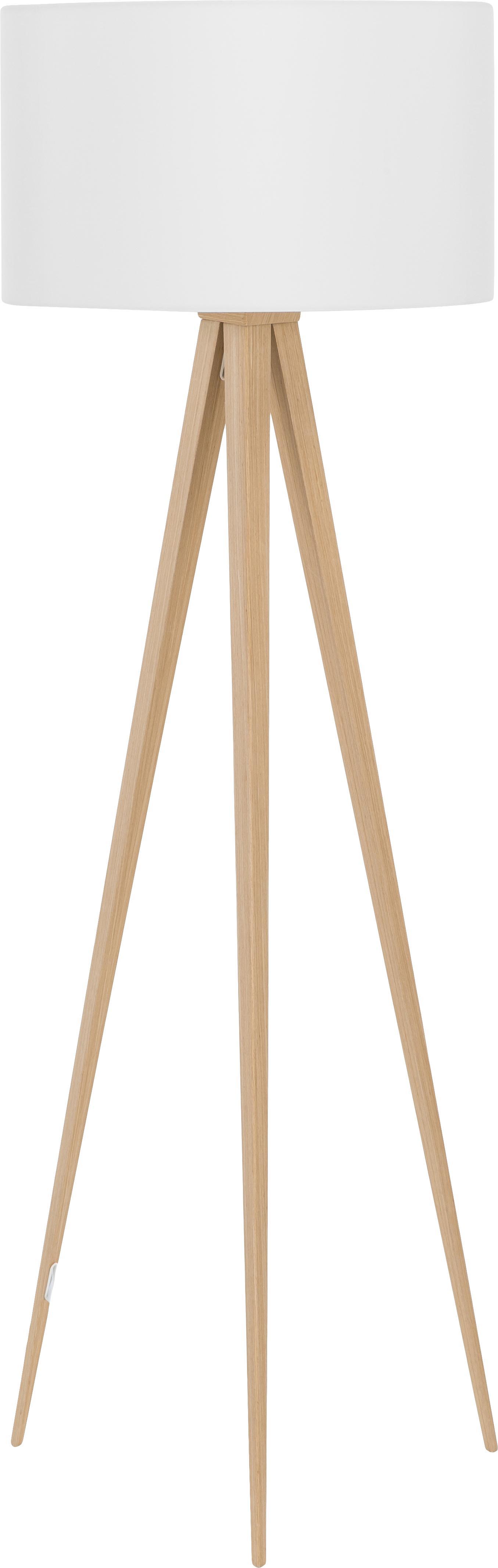 Lámpara de pie tripode Jake, Pantalla: algodón, Cable: plástico, Blanco, madera, ∅ 50 x Al 154 cm