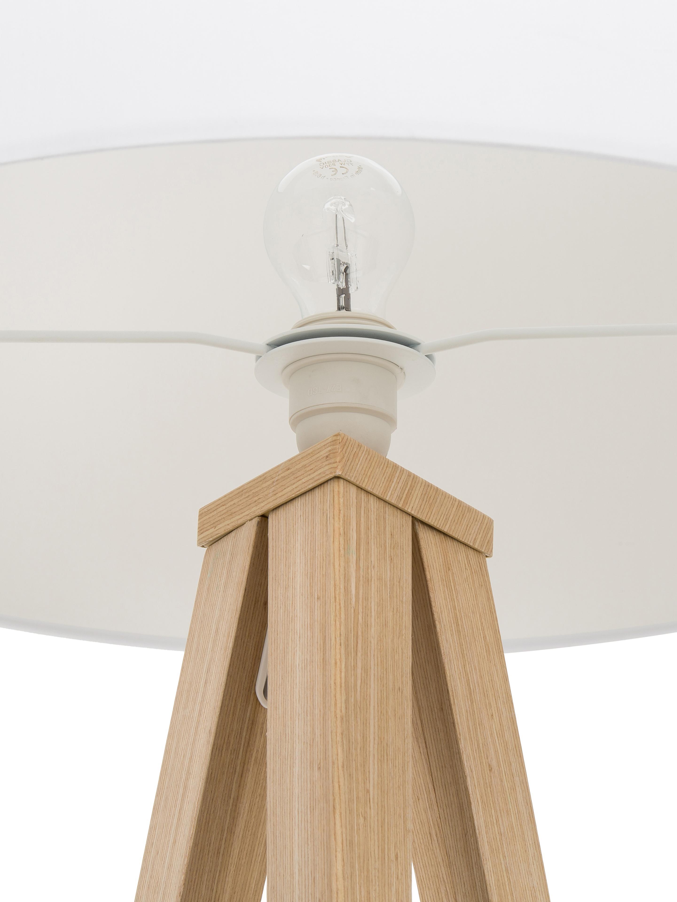 Tripod Stehlampe Jake mit Holzfuß, Lampenschirm: Baumwolle, Lampenfuß: Metall mit Echtholzfurnie, Lampenschirm: WeißLampenfuß: Holzfurnier, ∅ 50 x H 154 cm