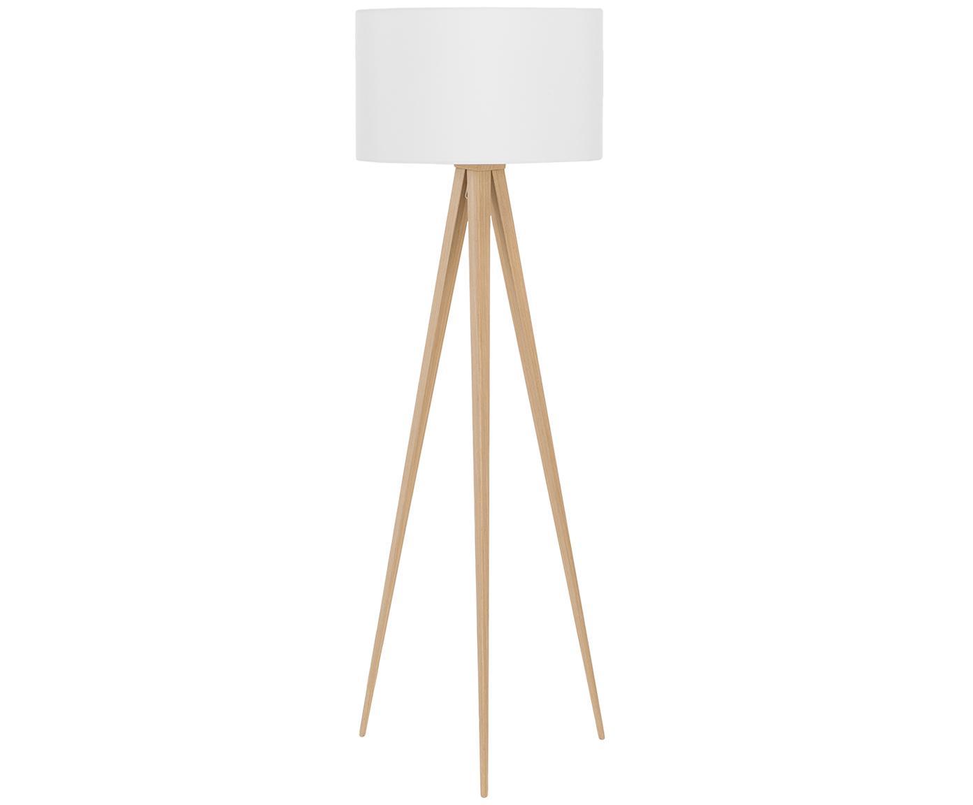 Lampada da terra stile nordico Jake, Paralume: cotone, Base della lampada: metallo con impiallacciat, Paralume: bianco Base della lampada: impiallacciatura di legno, Ø 50 x Alt. 154 cm