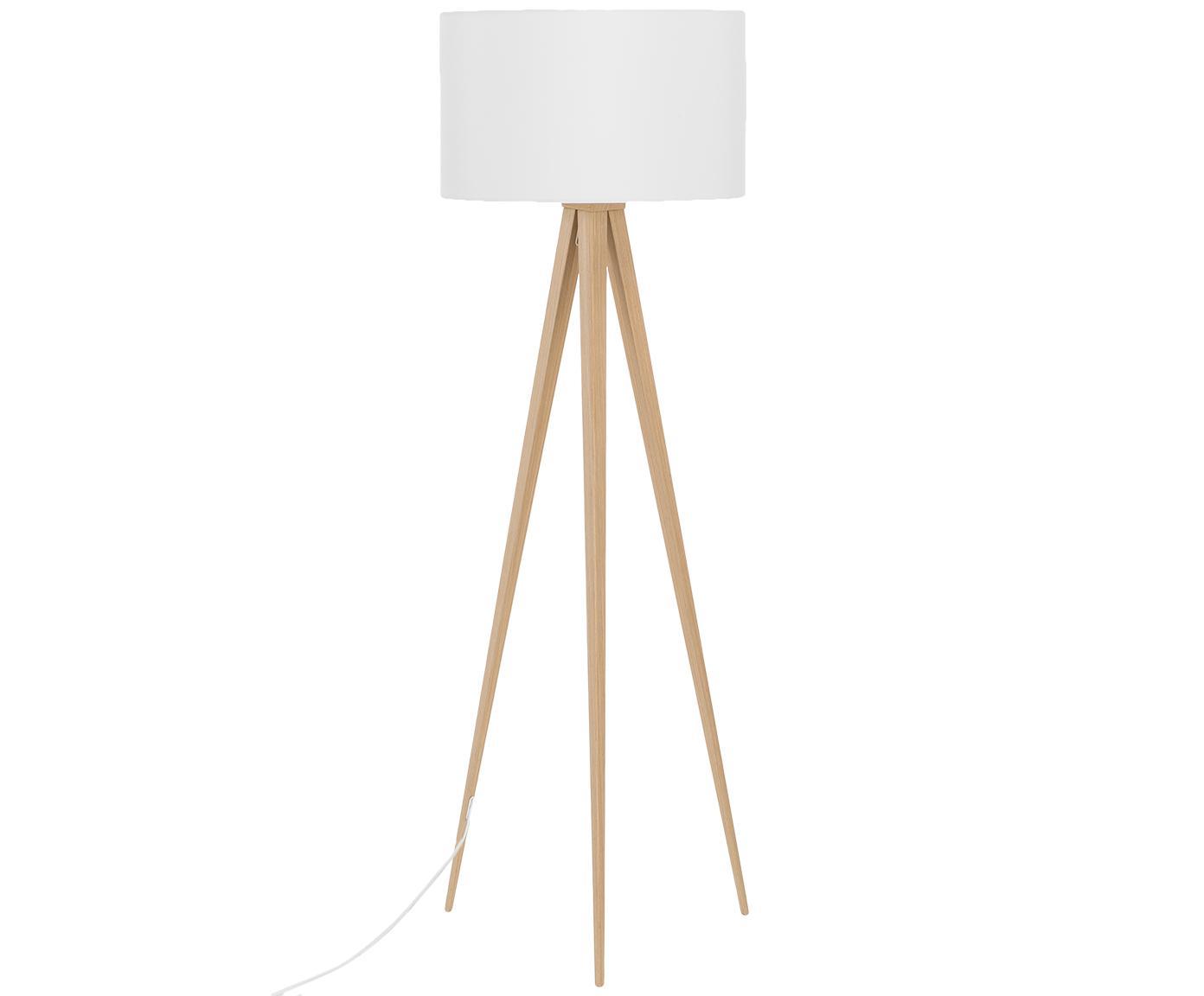 Stojací lampa Jake, Stínidlo: bílá Podstava lampy: dýha