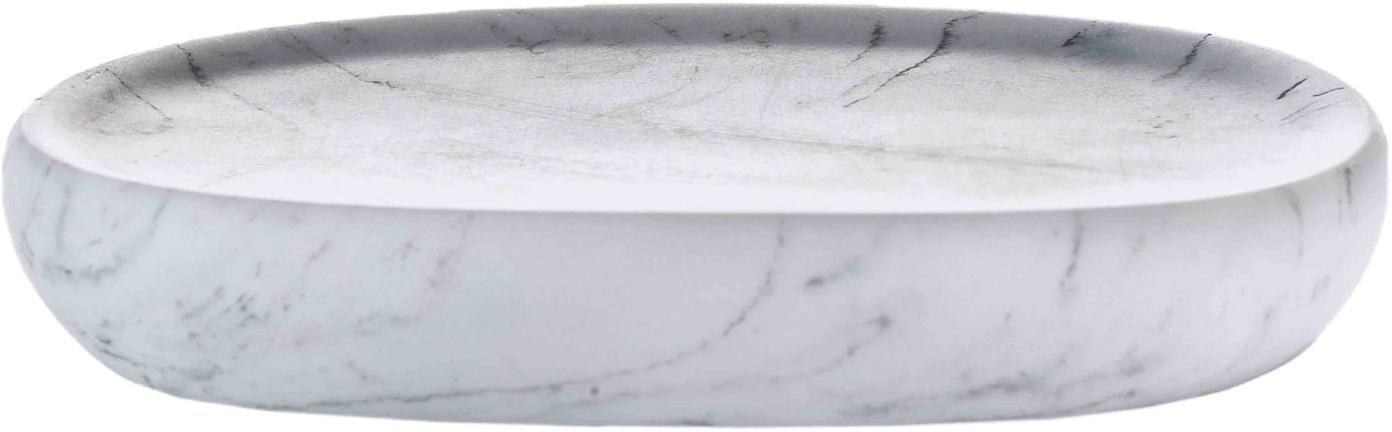 Portasapone Marblis in marmo, Poliresina, Bianco, Larg. 13 x Alt. 2 cm