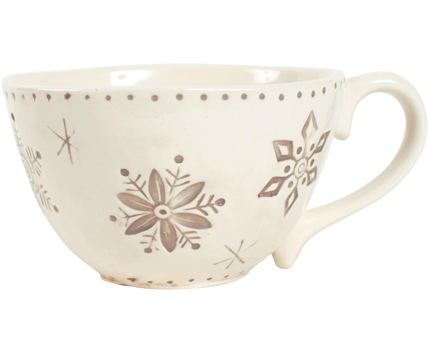 XL koffiekopje Neige met sneeuwvlokken motief, Keramiek, Grijs, beige, Ø 14 x H 9 cm