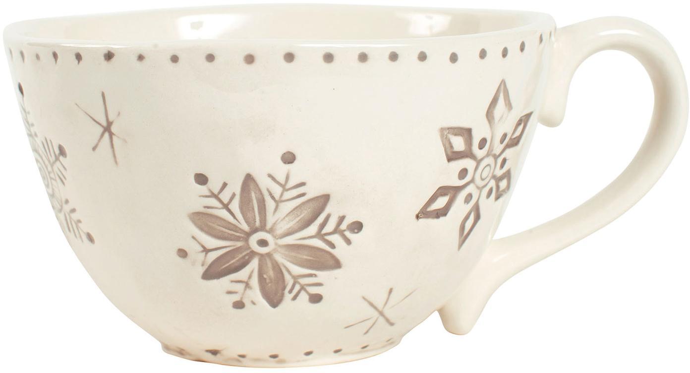 XL Kaffeetasse Neige mit Schneeflockenmotiv, Steingut, Grau, Beige, Ø 14 x H 9 cm
