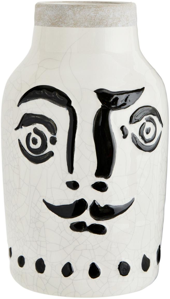 Jarrón con esmalte craquelado Face, Gres, Blanco, negro, Ø 16 x Al 28 cm