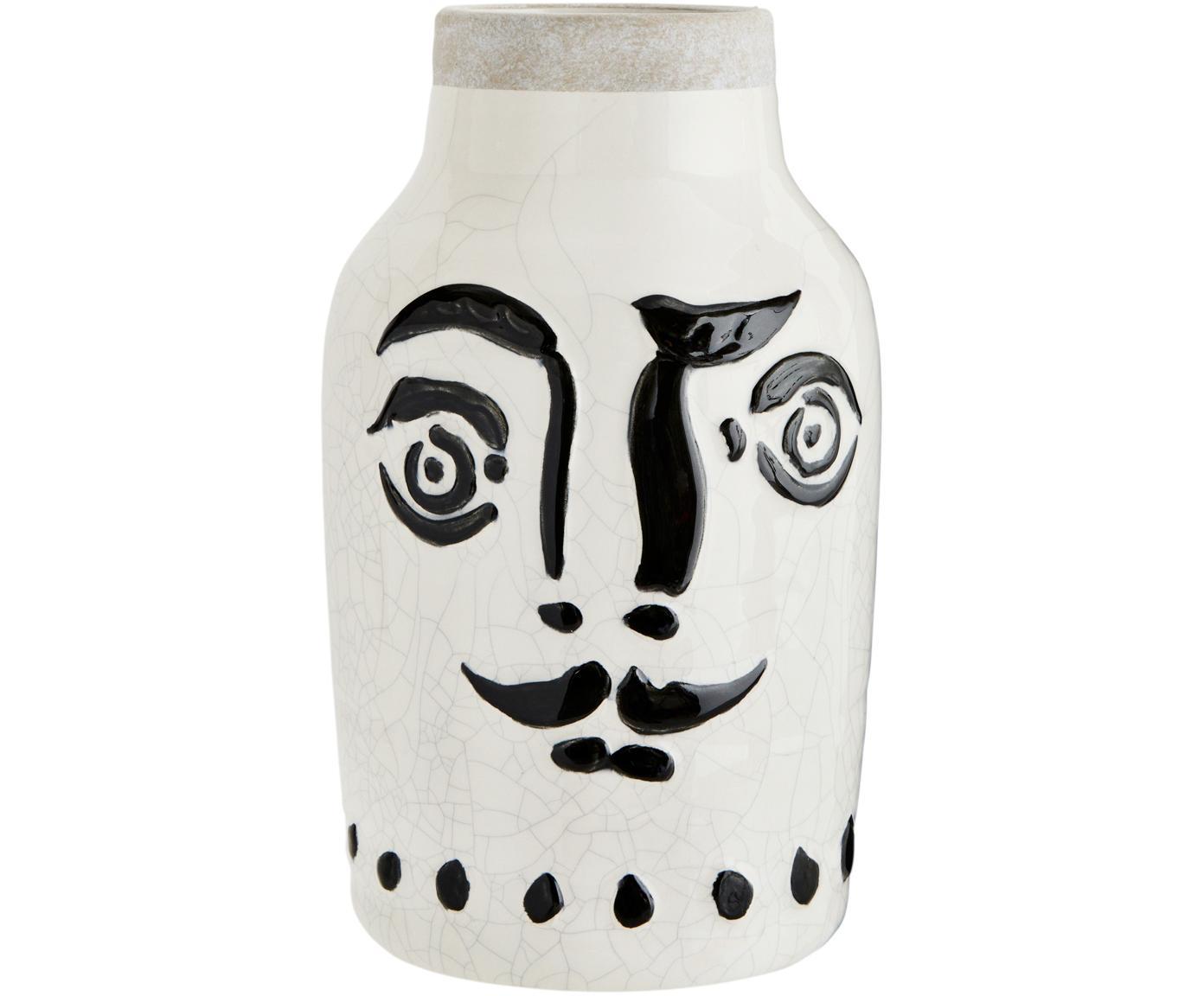 Vase Face mit Craquelé Glasur, Steingut, Weiß, Schwarz, Ø 16 x H 28 cm