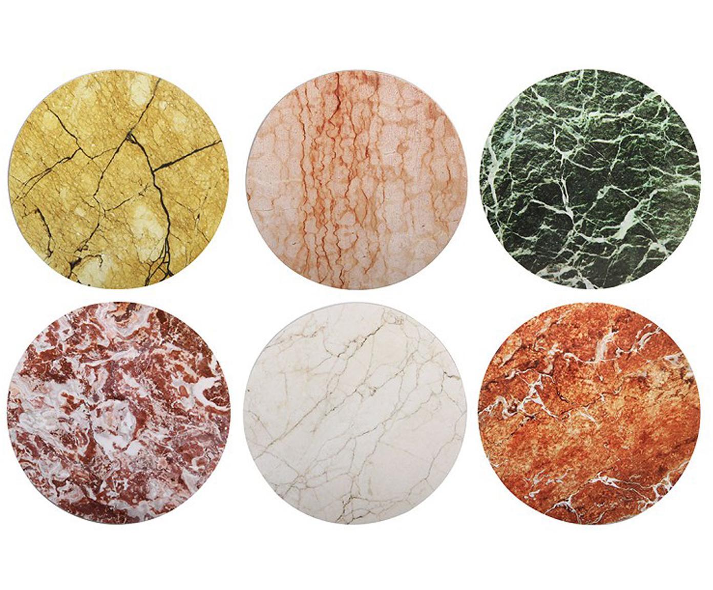 Set de posavasos Ofelia, 6pzas., Corcho, Multicolor, Ø 10 cm