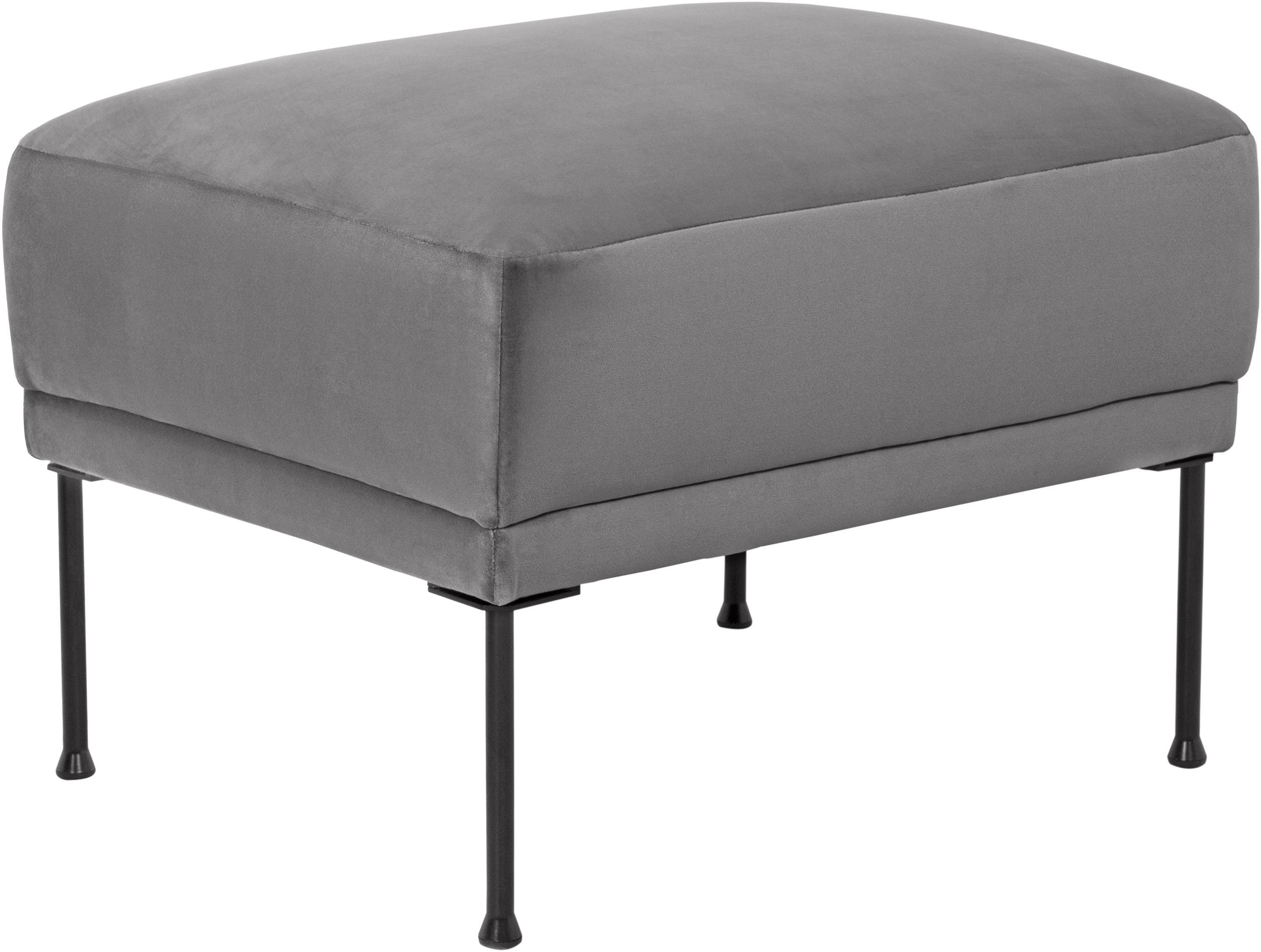 Sofa-Hocker Fluente aus Samt, Bezug: Samt (Hochwertiger Polyes, Gestell: Massives Kiefernholz, Samt Hellgrau, 62 x 46 cm
