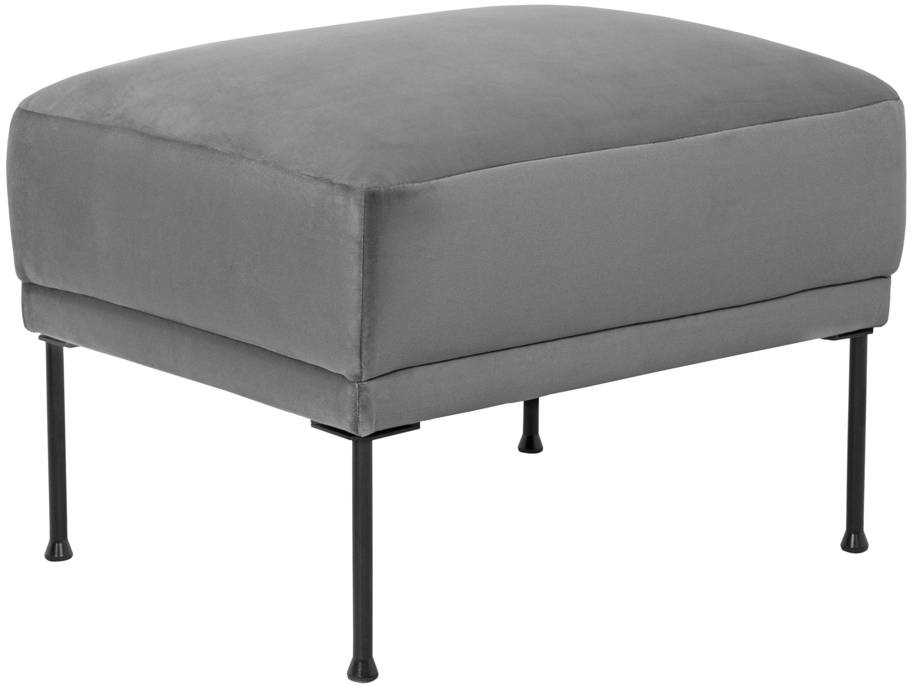 Sofa-Hocker Fluente aus Samt, Bezug: Samt (Hochwertiger Polyes, Gestell: Massives Kiefernholz, Füße: Metall, pulverbeschichtet, Samt Hellgrau, 62 x 46 cm