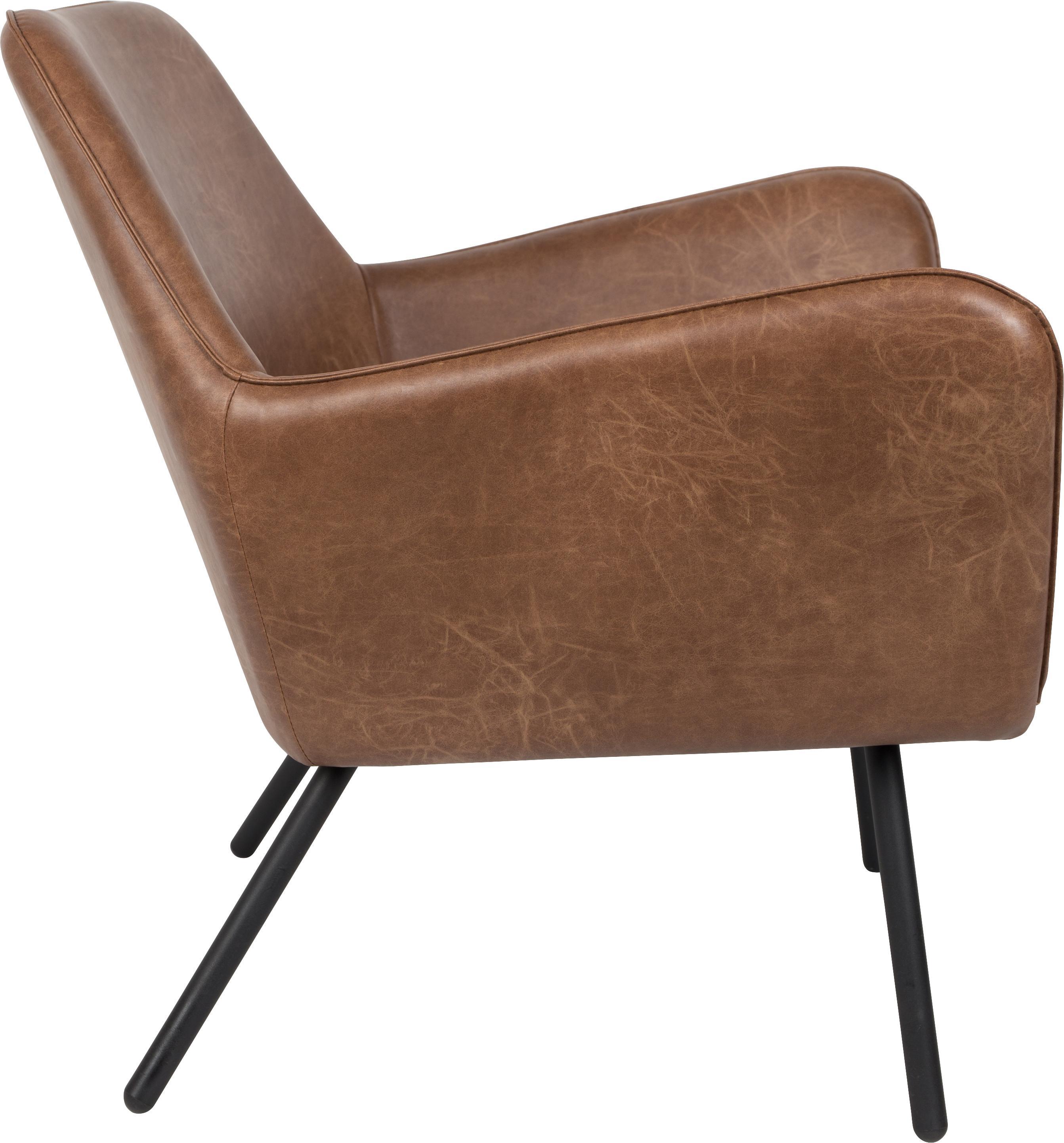 Fauteuil design industriel en cuir synthétique Bon, Revêtement: brun, léger relief Pieds: noir