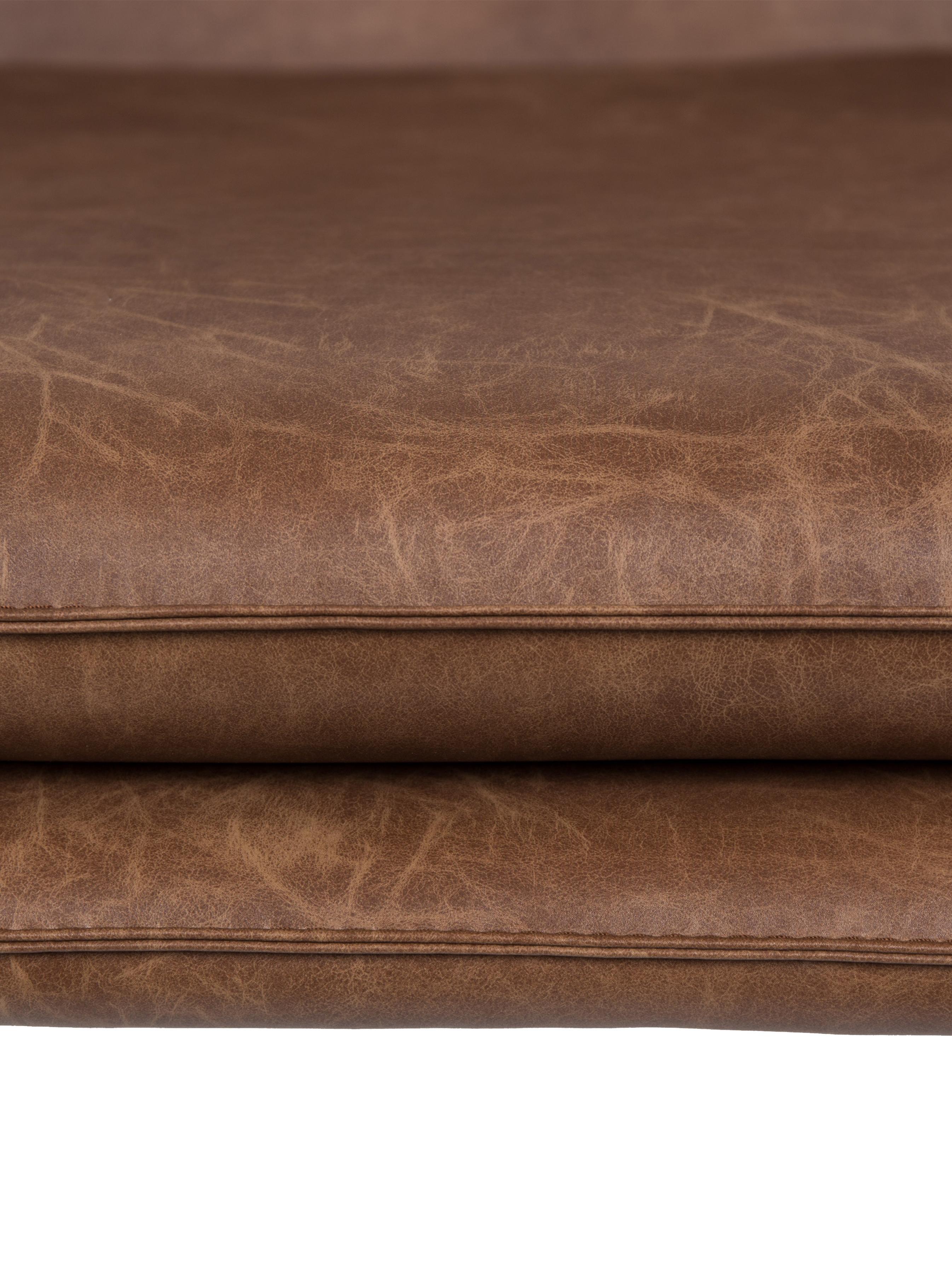 Kunstleder-Sessel Bon im Industrial Design, Bezug: Kunstleder (64% Polyureth, Füße: Metall, lackiert, Bezug: Braun, strukturiert<br>Füße: Schwarz, 80 x 78 cm
