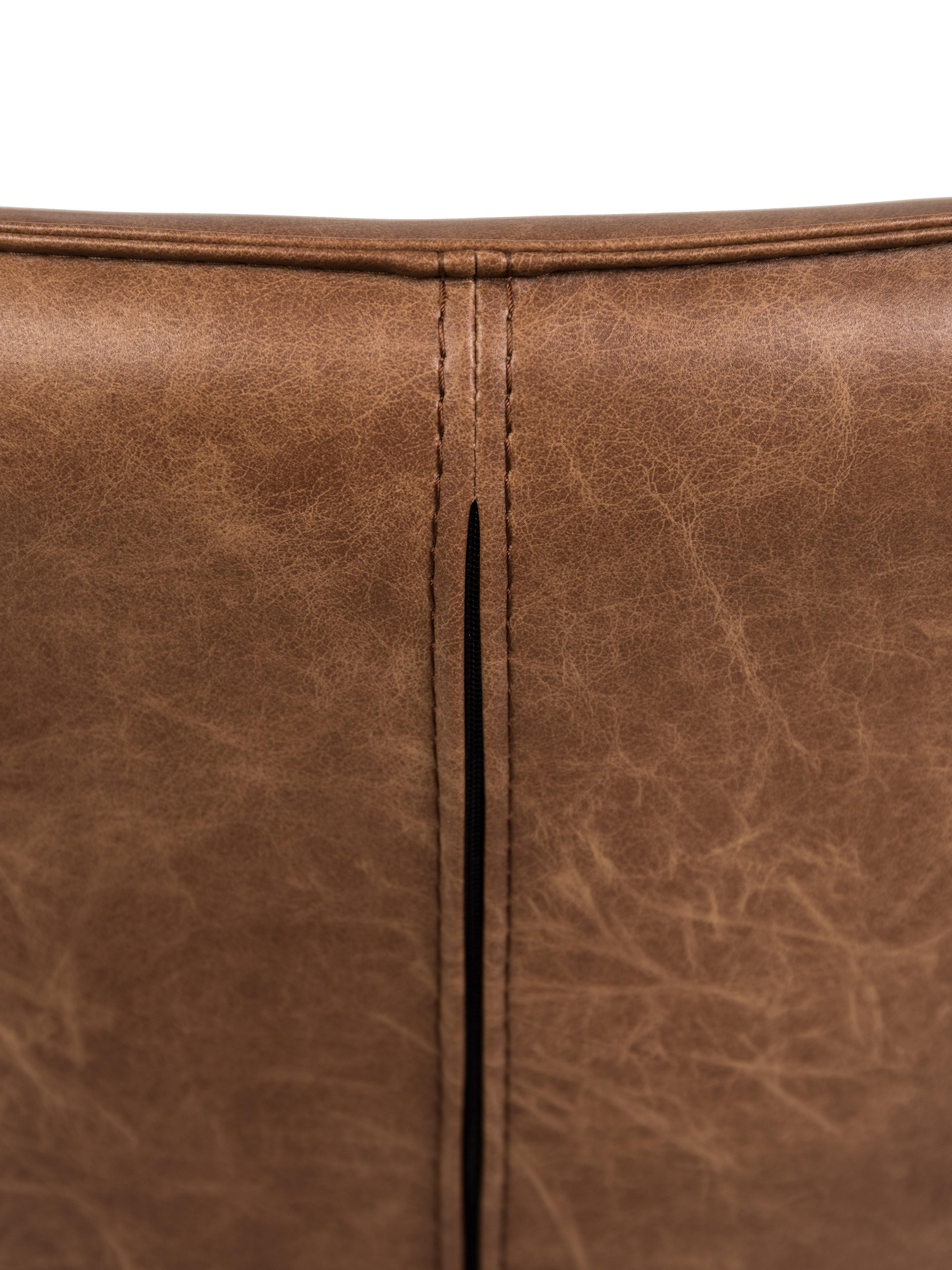 Poltrona in similpelle Bon, Rivestimento: similpelle (64% poliureta, Piedini: metallo verniciato, Rivestimento: marrone, strutturato Piedini: nero, Larg. 80 x Alt. 78 cm