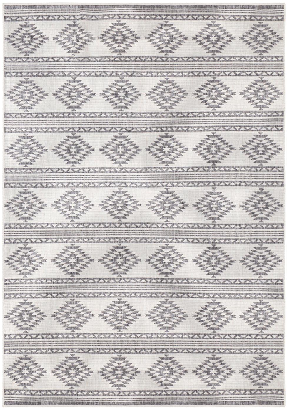 Ethno In- und Outdoor Wendeteppich Maple in Grau/Creme, 100% Polypropylen, Grau, Creme, B 120 x L 170 cm (Größe S)