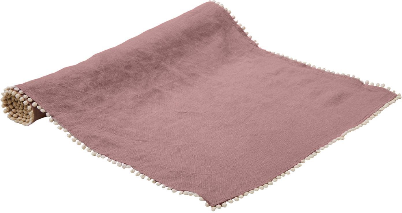 Camino de mesa de lino Pom Pom, Lino, Rosa palo, An 40 x L 150 cm