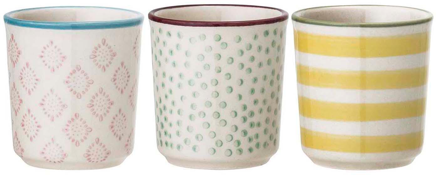 Handbemalte Eierbecher Patrizia mit verspieltem Muster, 3er-Set, Steingut, Weiß, Grün, Pink, Gelb, Ø 5 x H 5 cm
