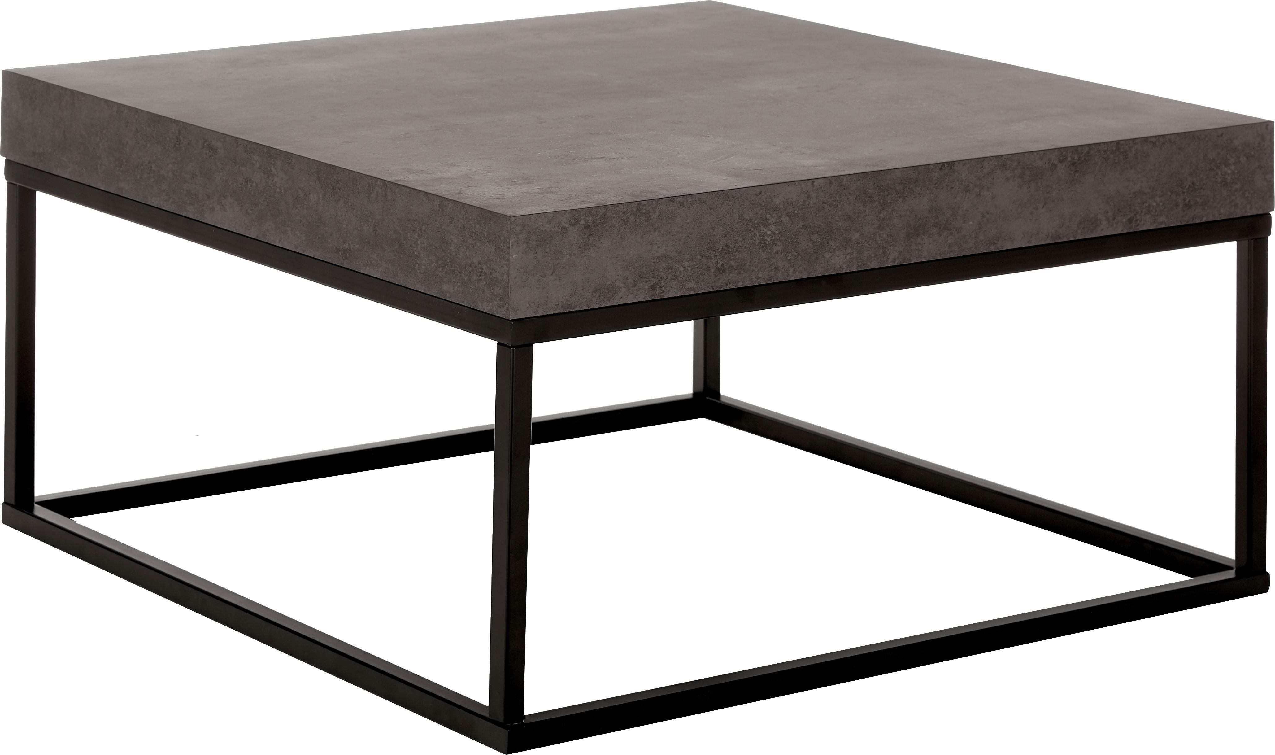 Mesa de centro en cemento Ellis, Tablero: estructura ligera de pana, Estructura: metal pintado, Negro, imitación de cemento, An 75 x Al 38 cm