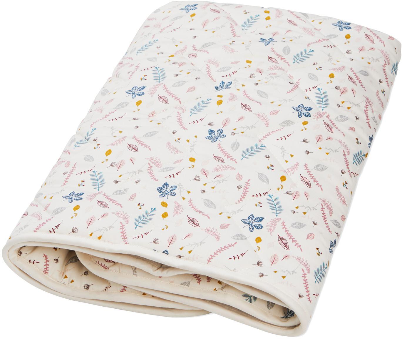 Manta Pressed Leaves, Tapizado: algodón orgánico, Crema, rosa, azul, gris, amarillo, An 100 x L 100 cm