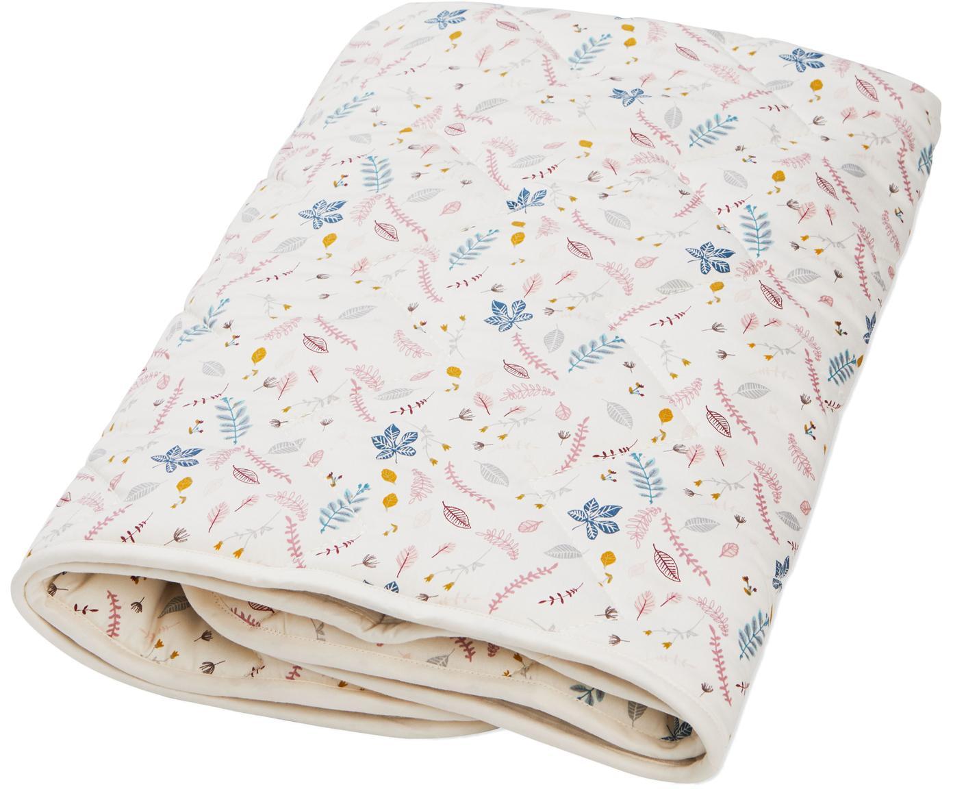 Pléd zorganické bavlny Pressed Leaves, Krémová, růžová, modrá, šedá, žlutá