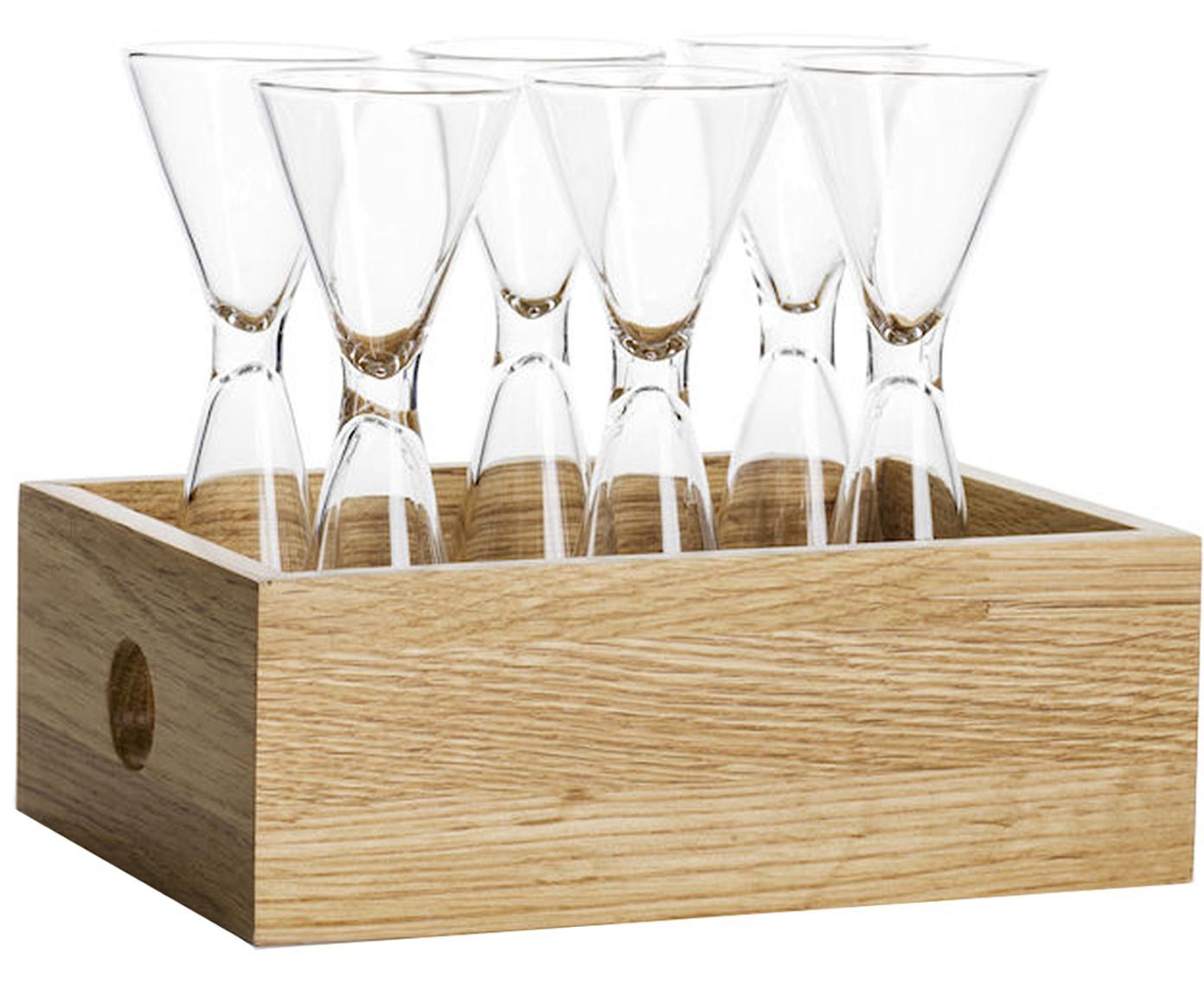 Set de vasos chupitos Semon, 7pzas., Vidrio soplado, madera de roble, Transparente, roble, Ø 4 x Al 12 cm