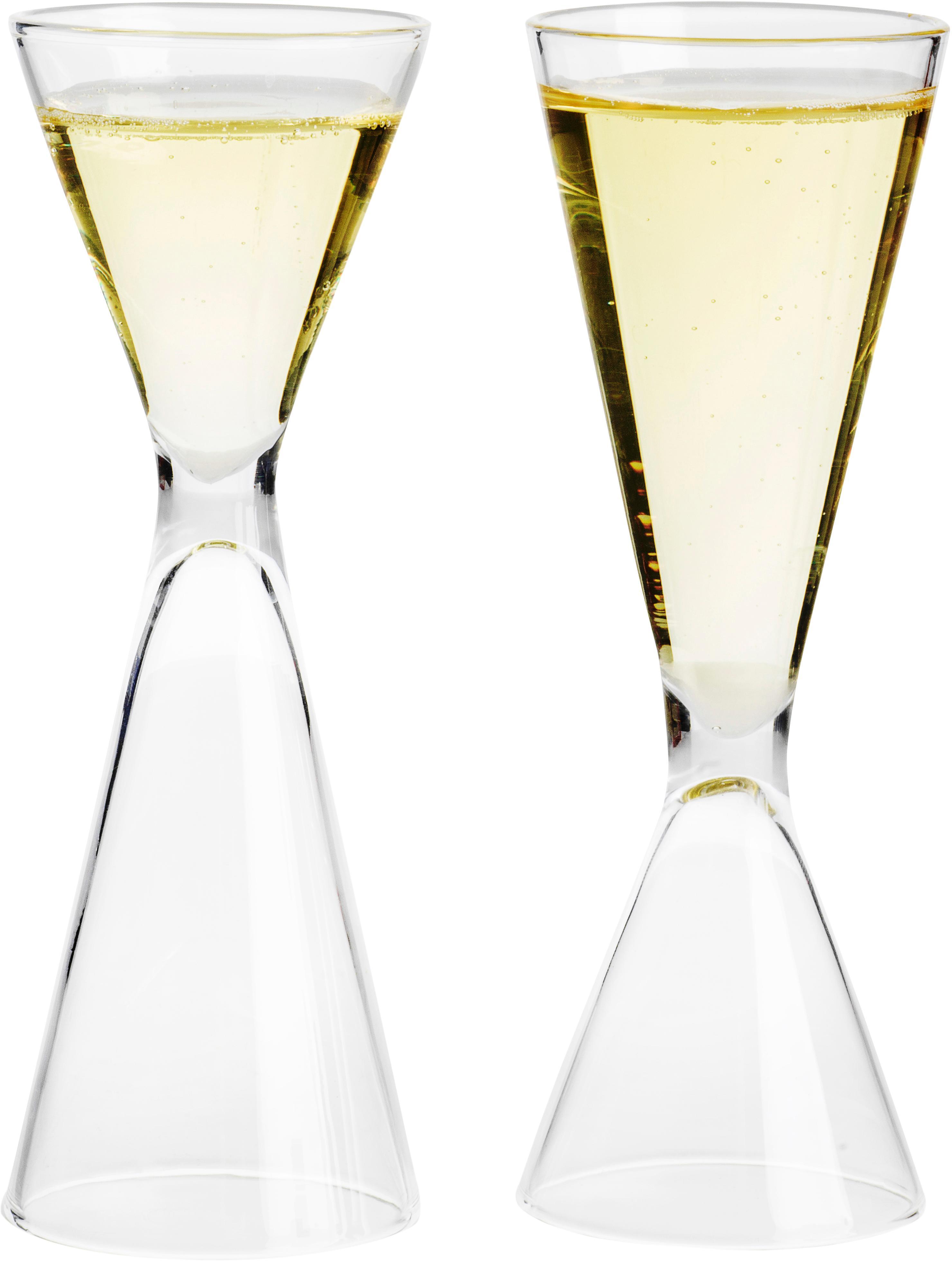 Set 7 bicchieri in vetro soffiato Semon, Vetro soffiato, legno di quercia, Trasparente, legno di quercia, Ø 4 x Alt. 12 cm