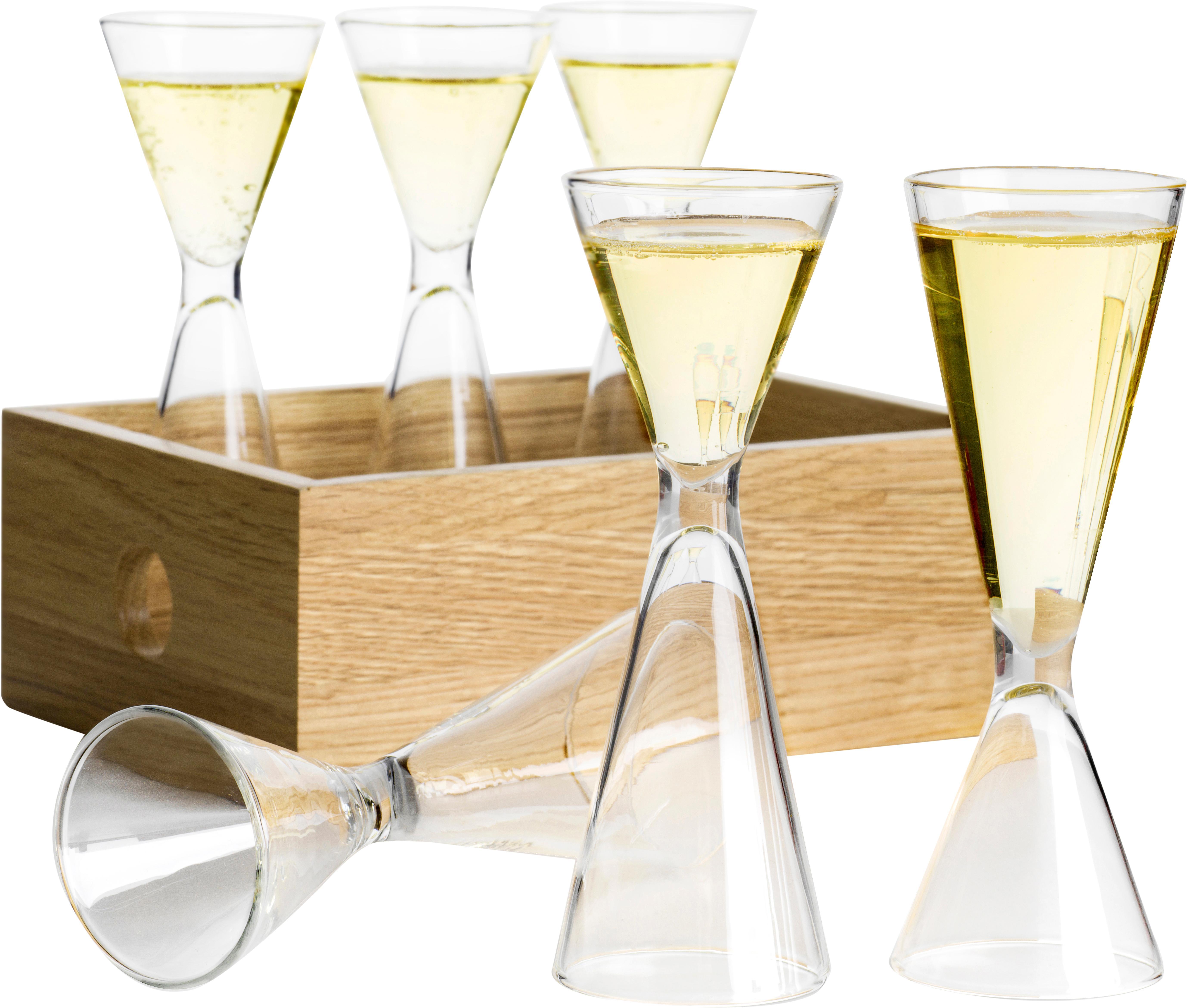 Mundgeblasenes Schnapsgläser-Set Semon, 7-tlg., Mundgeblasenes Glas, Eichenholz, Transparent, Eichenholz, Ø 4 x H 12 cm