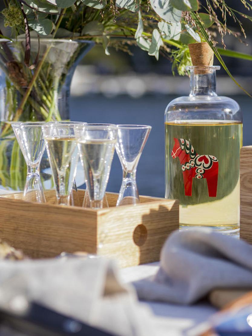 Ensemble de verres à liqueur soufflés bouche Semon, 7élém., Transparent, bois de chêne