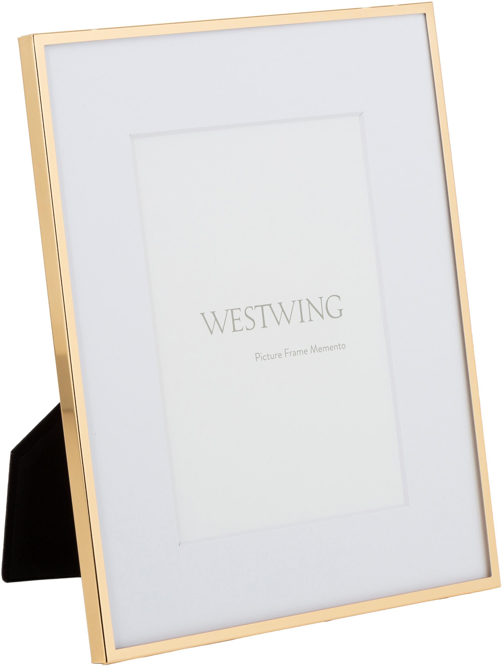 Cornice Memento, Cornice: ferro, lucido verniciato, Retro: pannelli di fibra a media, Dorato, 10 x 15 cm