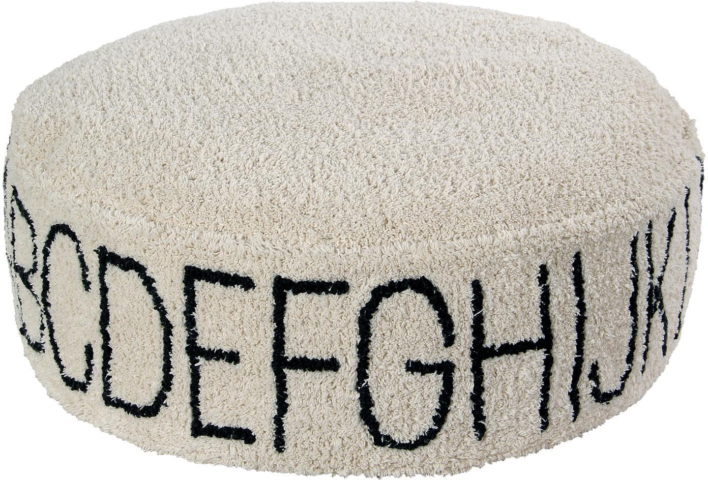 Cojín de suelo redondo de borreguillo ABC, Funda: 97%algodón, 3%algodón r, Beige, negro, Ø 70 x Al 20 cm