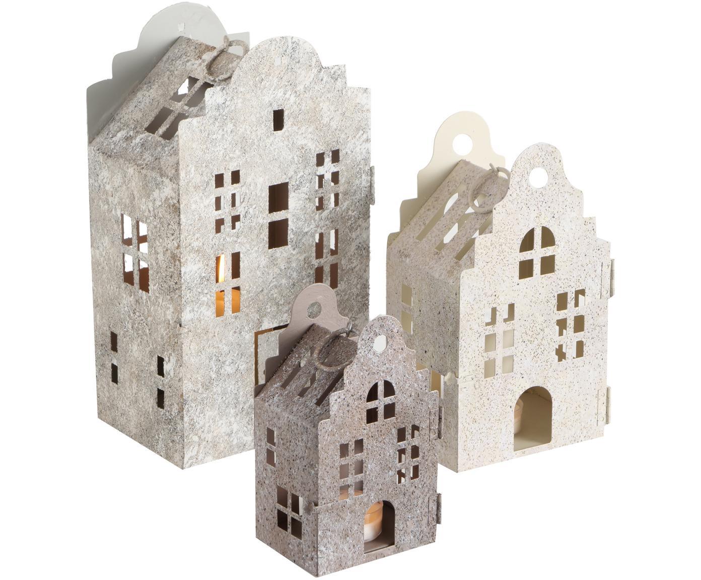 Windlichter-Set Amsterdam, 3-tlg., Metall, lackiert, Beige, hellgrau, grau, Verschiedene Grössen