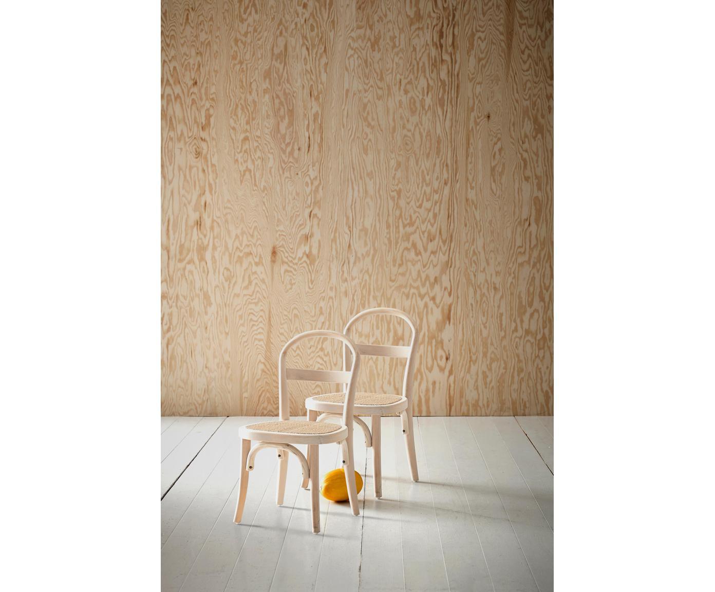 Kinderstühle Rippats, 2 Stück, Birkenholz, Rattan, Birkenholz, Rattan, B 33 x T 35 cm