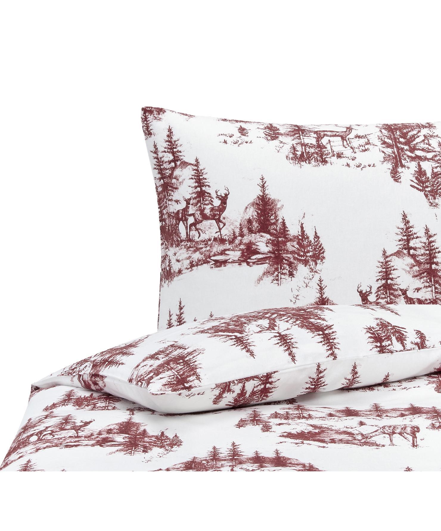 Flanell-Bettwäsche Nordic mit winterlichem Motiv, Webart: Flanell Flanell ist ein s, Rot, Weiß, 135 x 200 cm + 1 Kissen 80 x 80 cm