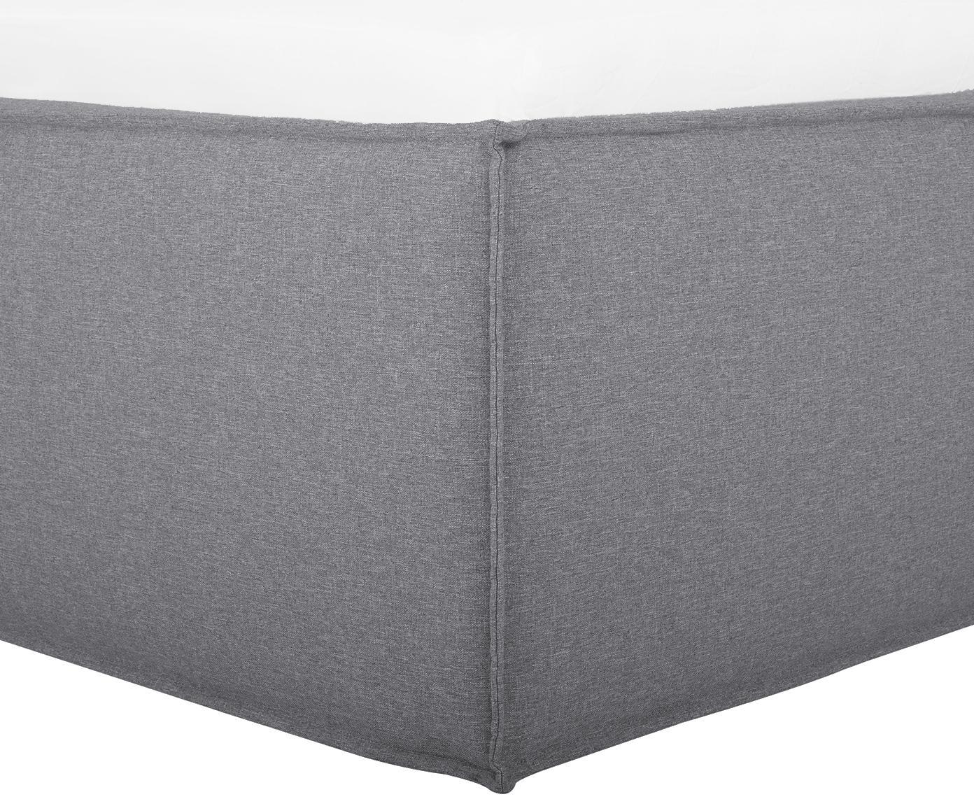 Łóżko tapicerowane Dream, Korpus: lite drewno sosnowe, Tapicerka: poliester (materiał tekst, Szary, 140 x 200 cm