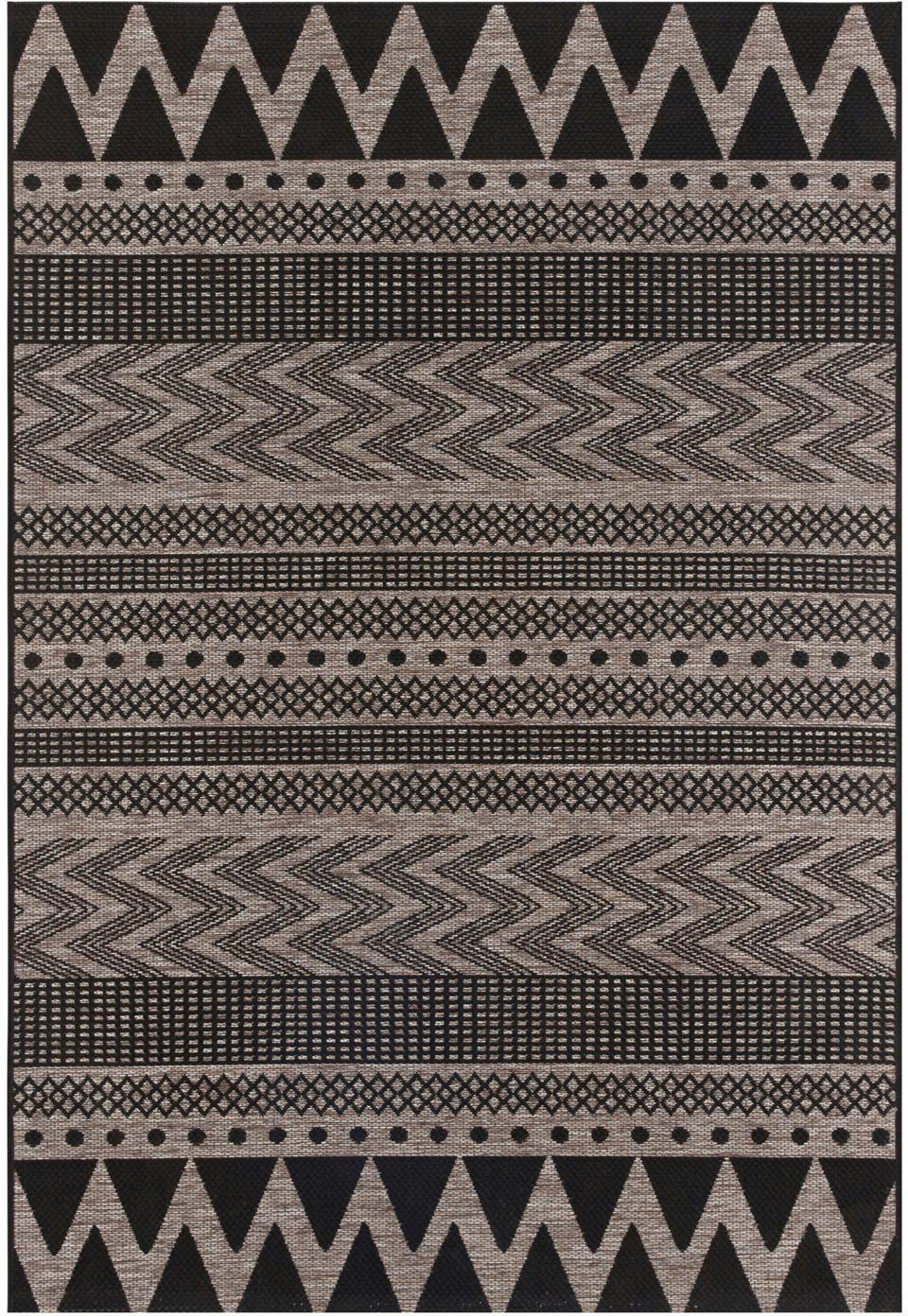 In- & outdoor vloerkleed Sidon met grafisch patroon, 100% polypropyleen, Beige, zwart, B 70 x L 140 cm (maat XS)