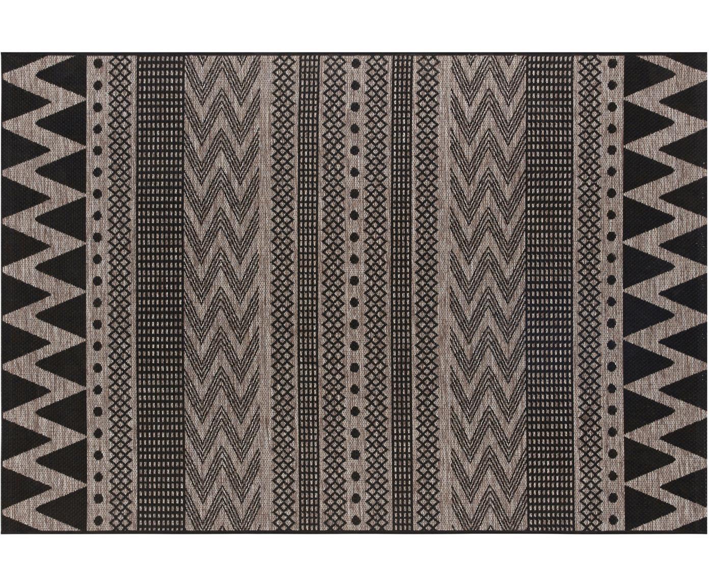 In- & outdoor vloerkleed Sidon met grafisch patroon, Polypropyleen, Beige, zwart, B 70 x L 140 cm (maat XS)