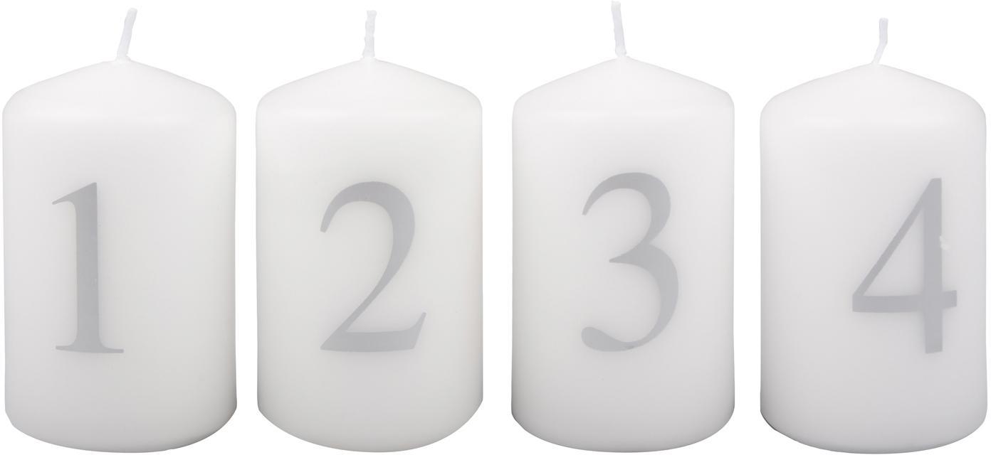 Adventskerzen-Set Aven, 4-tlg., Paraffinwachs, Weiß, Silberfarben, Ø 6 x H 9 cm
