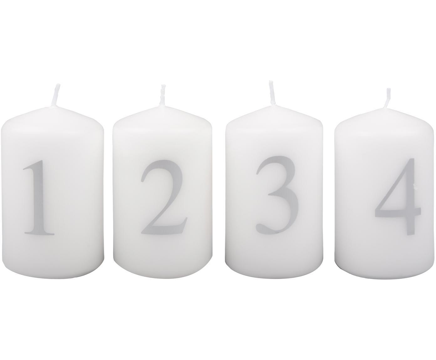 Set de velas de Adviento Aven, 4pzas., Parafina, Blanco, plateado, Ø 6 x Al 9 cm