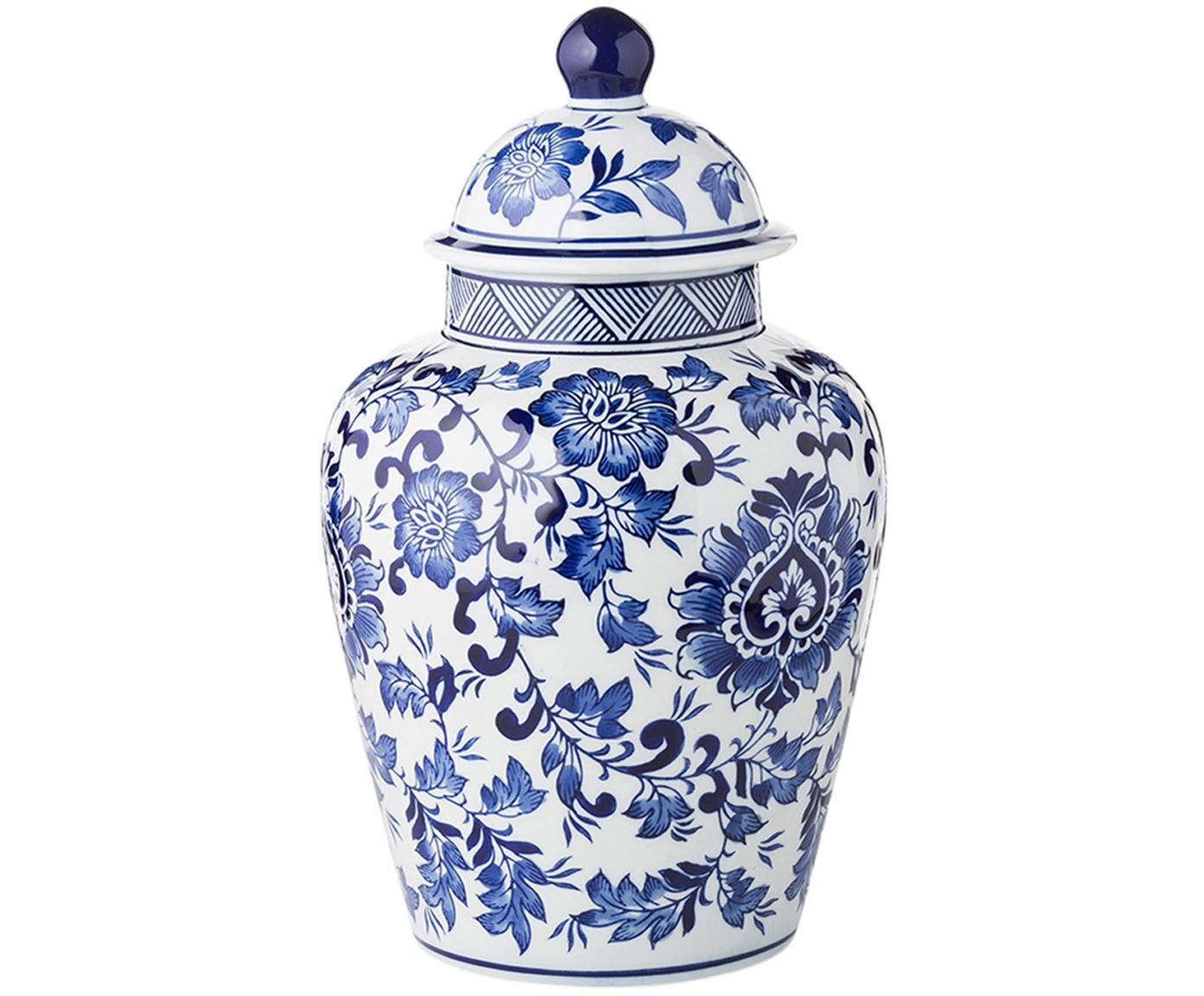 Grosse Deckelvase Annabelle aus Porzellan, Porzellan, Blau,Weiss, Ø 20 x H 35 cm