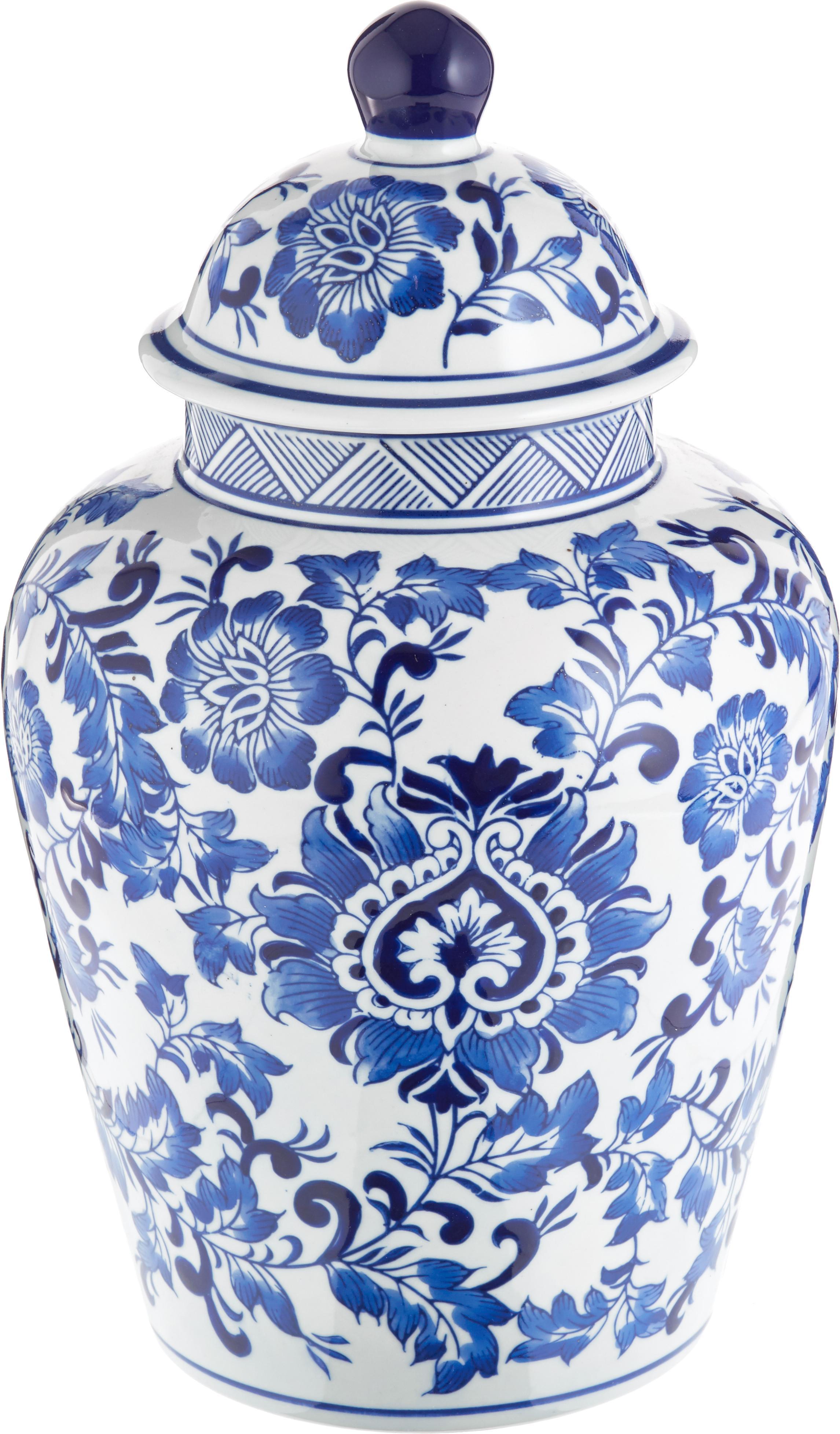 Duży wazon z porcelany z pokrywką Annabelle, Porcelana, Niebieski, biały, Ø 20 cm