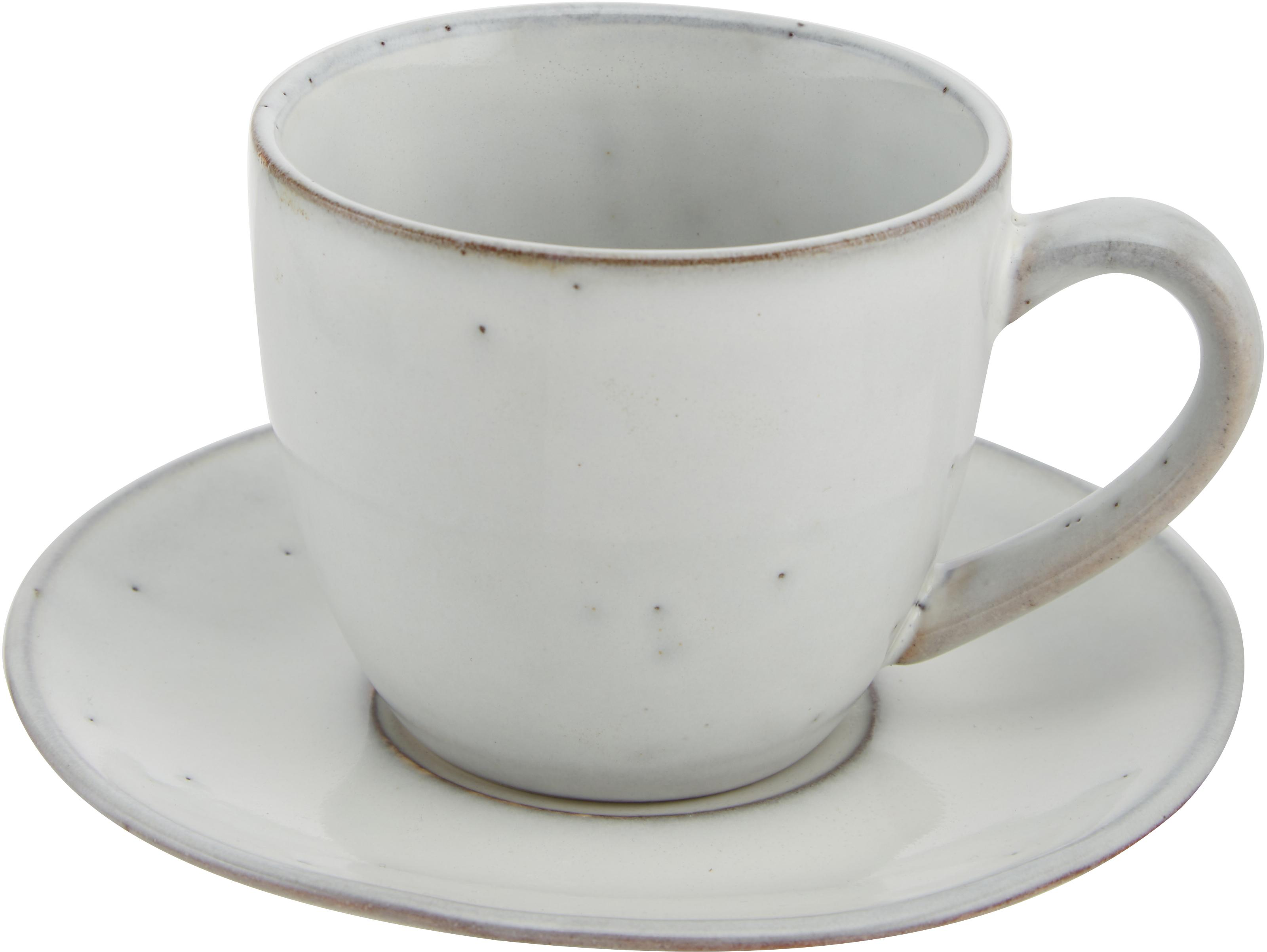 Handgemachte Tasse mit Untertasse Nordic Sand aus Steingut, Steingut, Sand, Ø 8 x H 7 cm