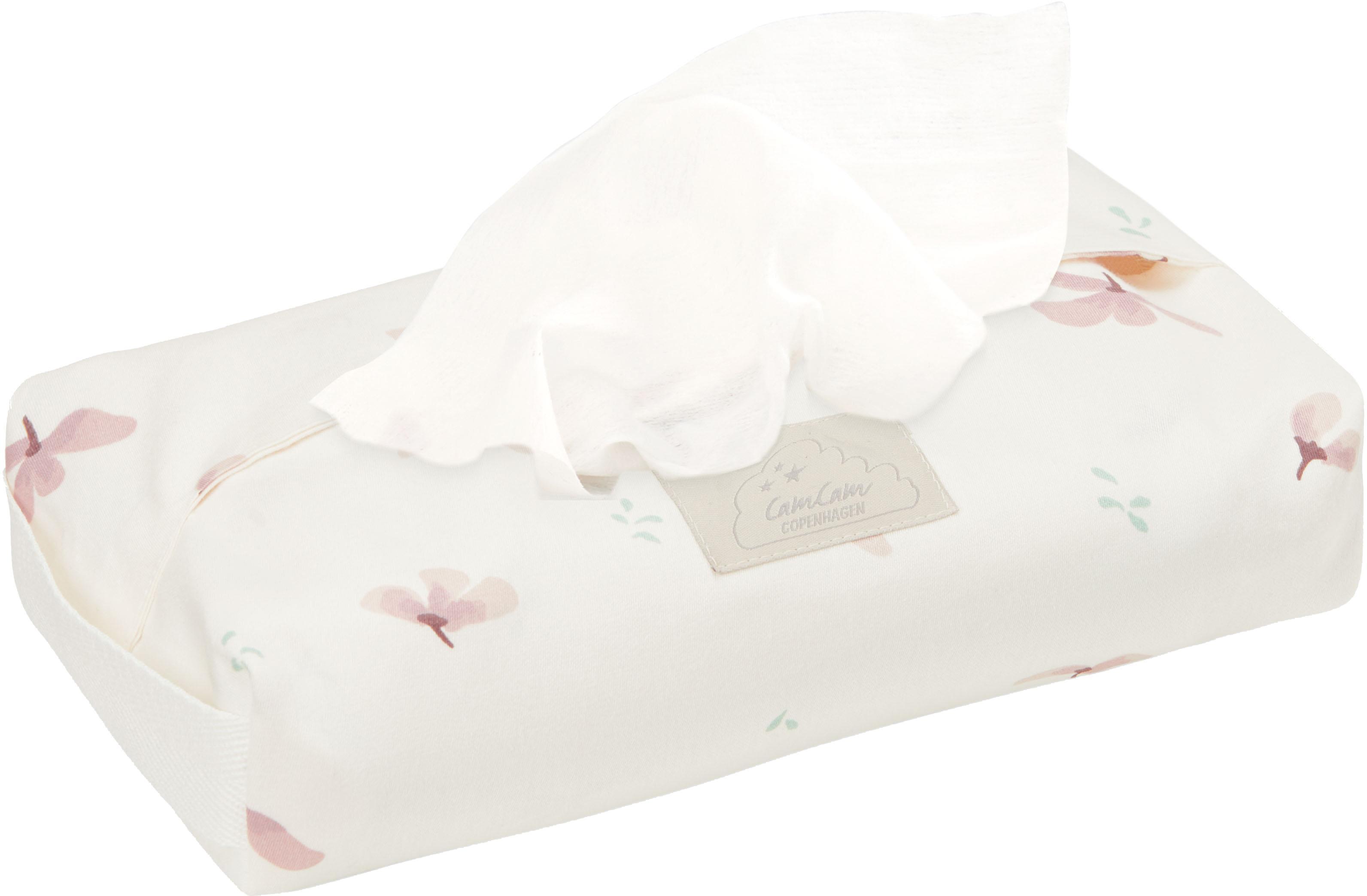 Estuche toallitas de algodón ecológico Wildflower, Funda: 100%algodón ecológico, c, Asa: 100%lino, Crema, rosa, An 25 x Al 5 cm