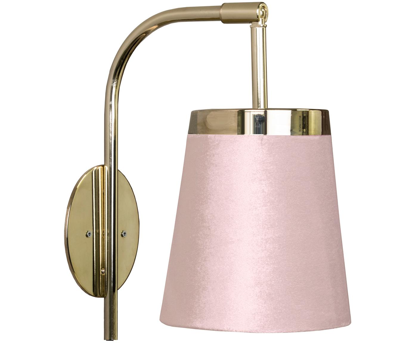 Wandlamp England met stekker, Lampenkap: polyester fluweel, Messingkleurig, roze, 14 x 25 cm