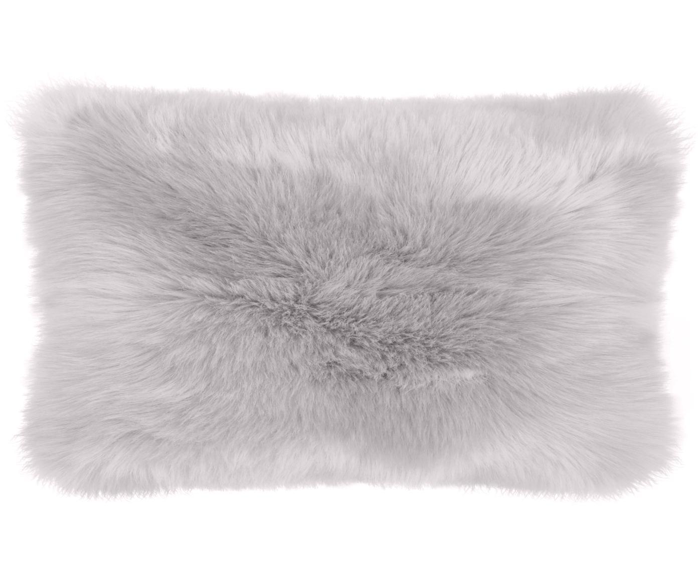 Poszewka na poduszkę ze sztucznego futra Mathilde, gładka, Jasny szary, S 30 x D 50 cm