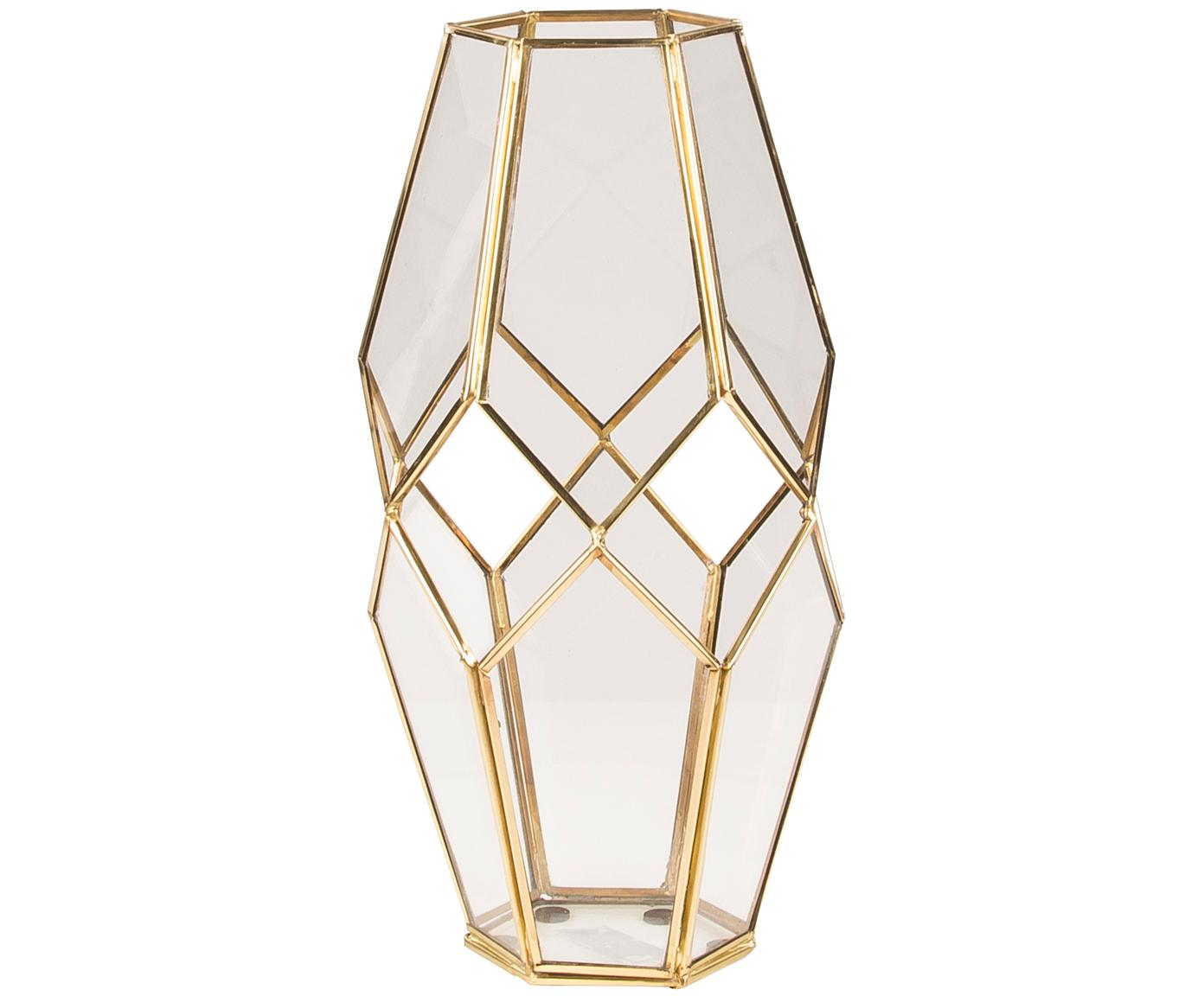 Portacandela in vetro e ottone Peter, Ottone, vetro, Trasparente, ottone, A 33 cm