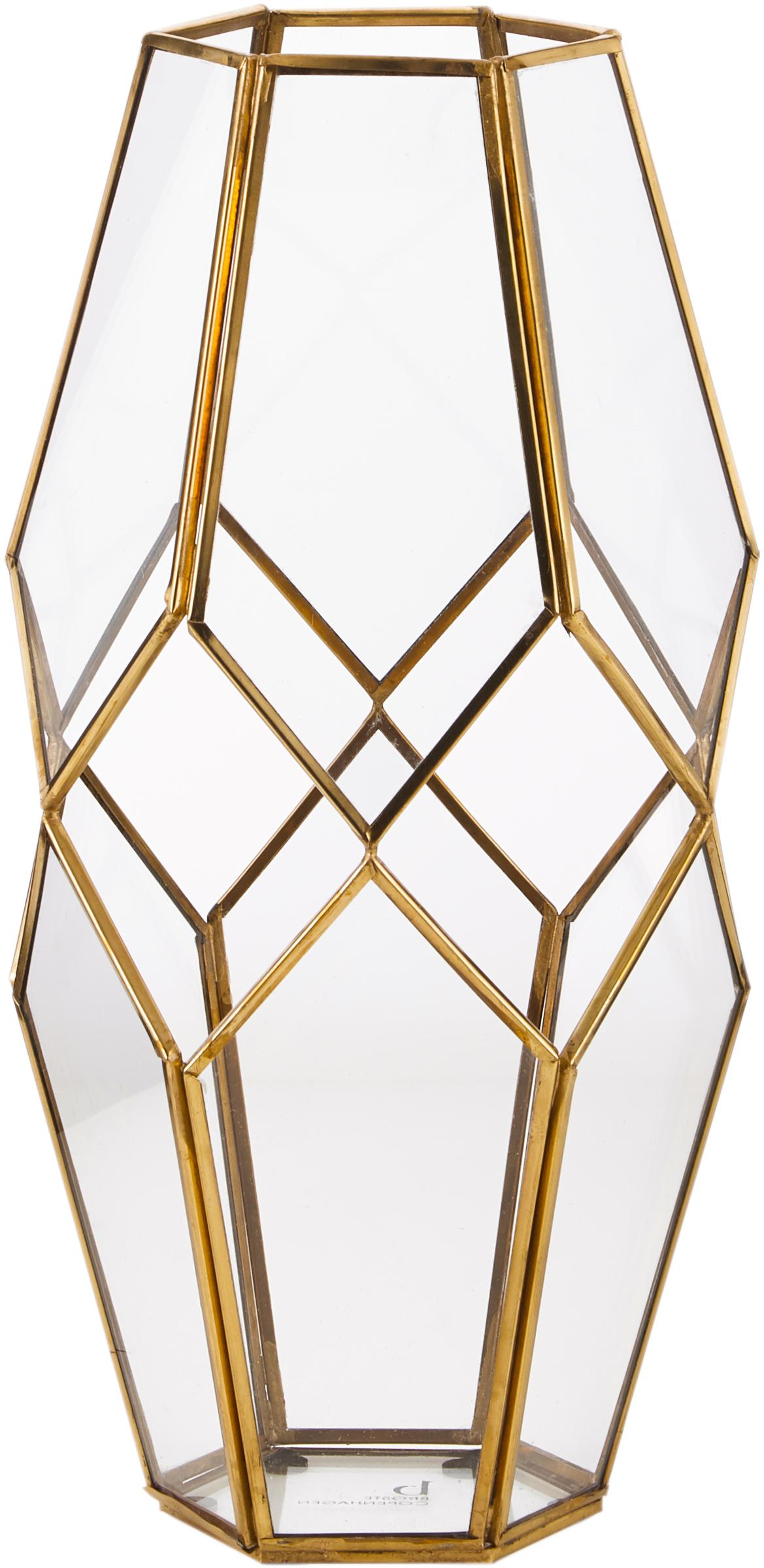 Portavelas Peter, Latón, vidrio, Transparente, latón, Al 33 cm