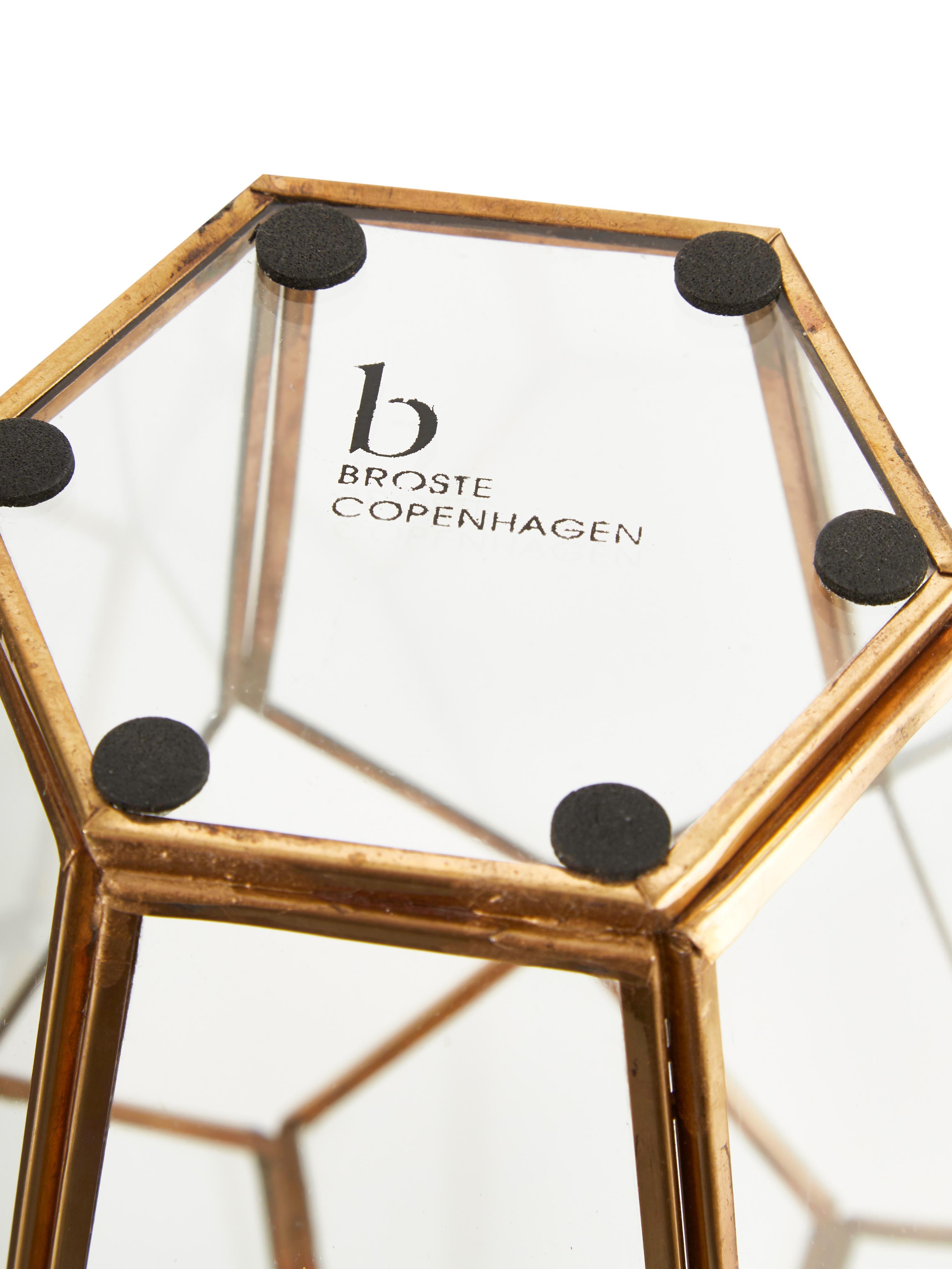 Windlicht Diamond, Messing, Glas, Transparent, Messing, H 33 cm