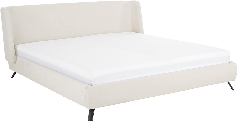 Łóżko tapicerowane Madonna, Korpus: lite drewno sosnowe, Nogi: metal malowany proszkowo, Tapicerka: poliester (tkanina strukt, Tapicerka: beżowy Nogi: czarny, matowy, 160 x 200 cm