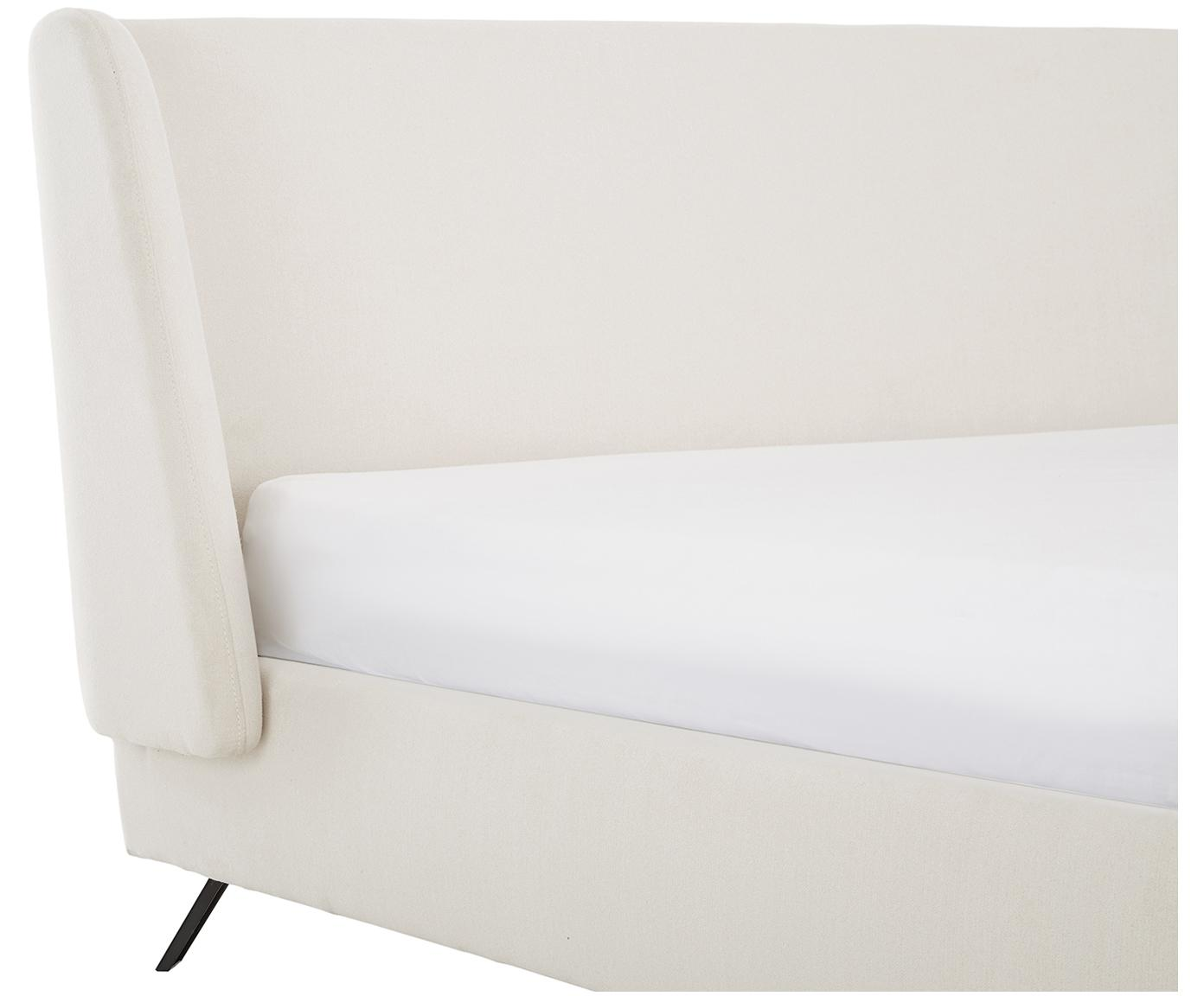 Polsterbett Madonna, Korpus: Massives Kiefernholz, Bezug: Polyester (Strukturstoff), Bezug: BeigeFüsse: Schwarz, matt, 180 x 200 cm