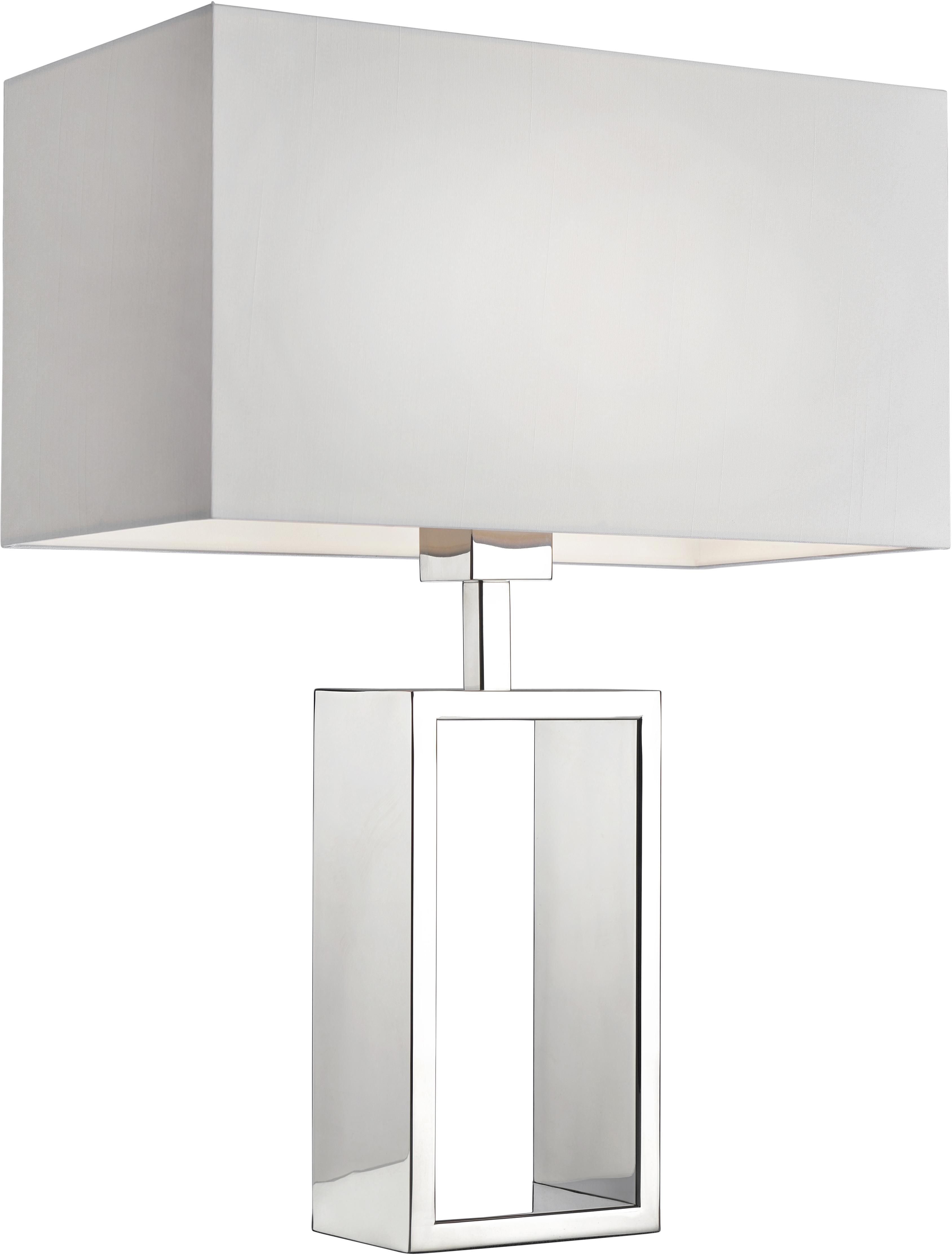 Tischlampe Shanghai mit verchromtem Lampenfuss, Chrom, Weiss, 35 x 47 cm