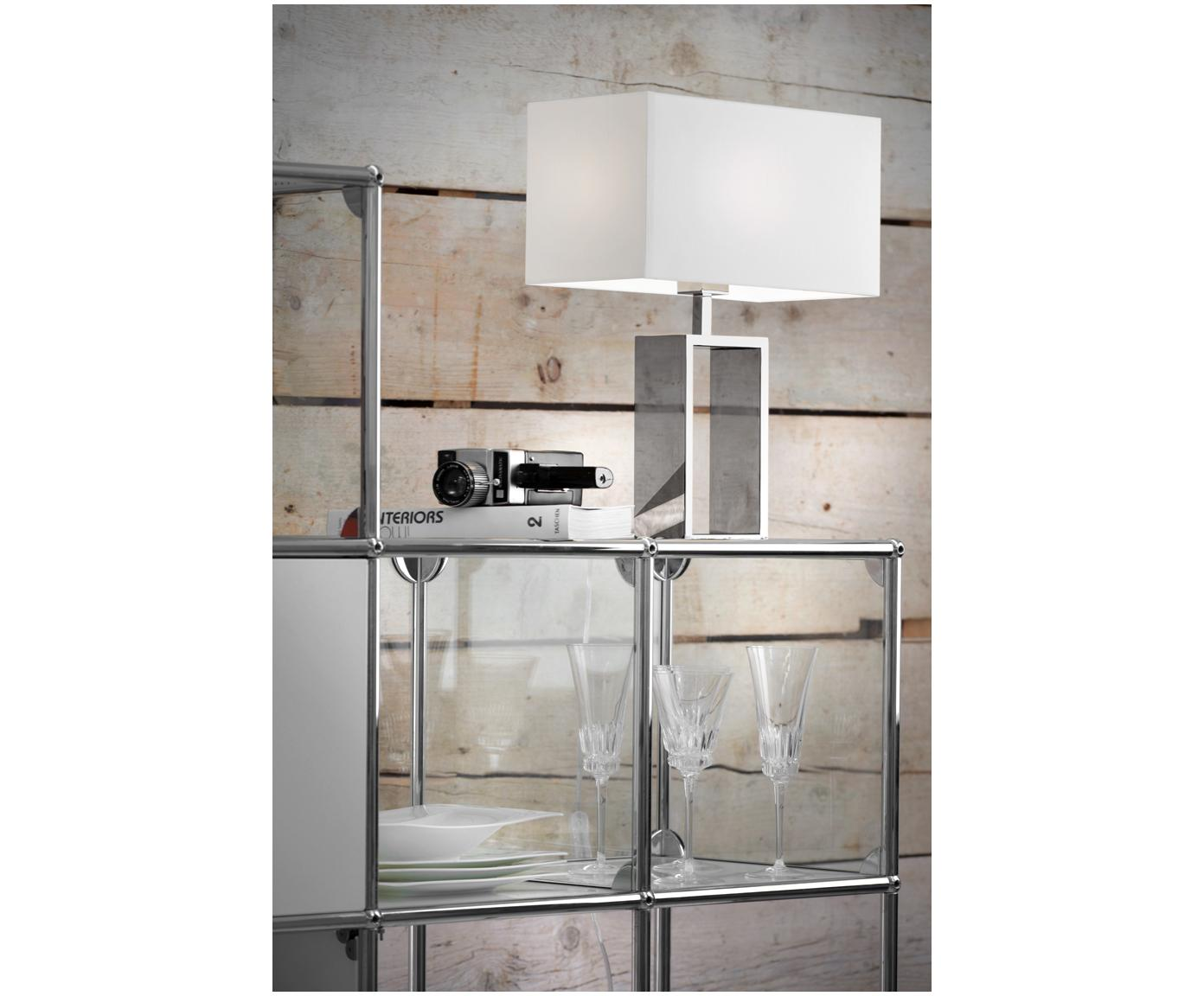 Lampada da tavolo in cromo Shanghai, Base della lampada: acciaio inossidabile crom, Cromo, bianco, Larg. 35 x Alt. 47 cm