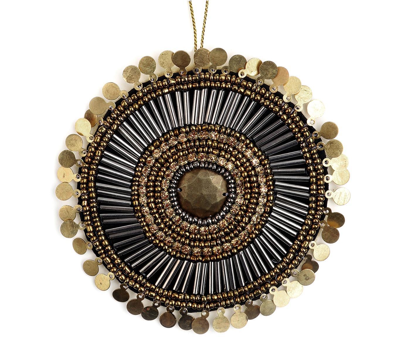 Etichetta regalo fatta a mano Gidoro, 60% perle di vetro, 20% metallo, 20% poliestere, Beige, dorato, nero, lucido, Ø 10 cm