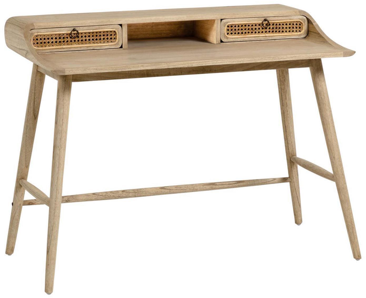 Scrivania in legno con cassetti Nalu, Maniglie: metallo verniciato, Legno lunare, Larg. 110x Prof. 60 cm